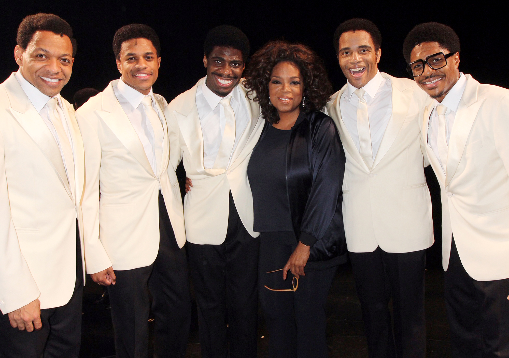 """NEW YORK, NY MAY16: (EXCLUSIVE COVERAGE) (L-R) Derrick Baskin, Jeremy Pope, Jawan M Jackson, Oprah Winfrey, James Harkness and Ephraim Sykes pose backstage at the hit musical """"Ain't Too Proud -The Life and Times of The Temptations"""" on Broadway at The Imperial Theatre on May 17, 2019 in New York City.(Photo by Bruce Glikas/WireImage)"""