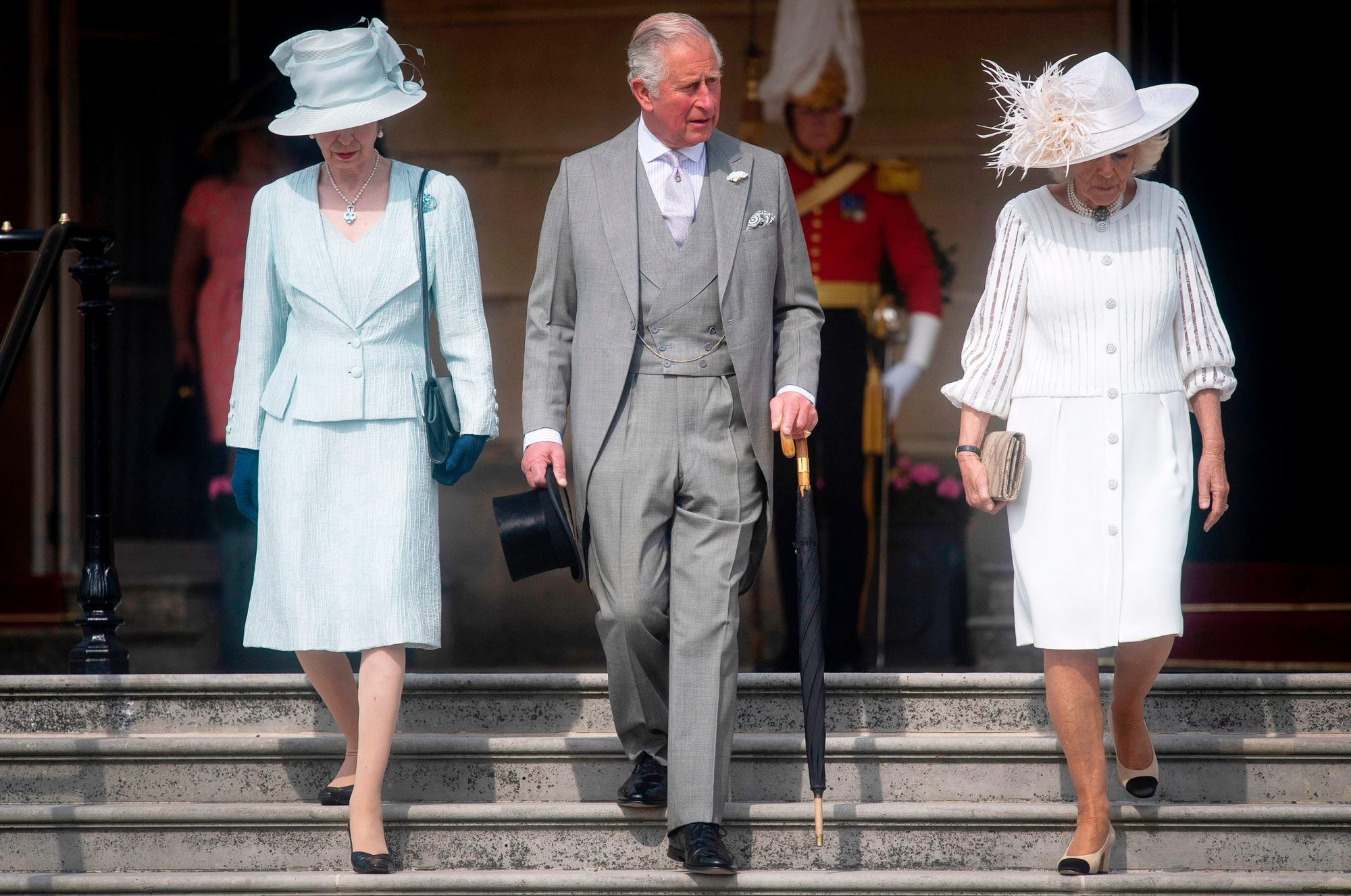 Princess Anne, Princess Royal (L), her brother Britain's Prince Charles, Prince of Wales