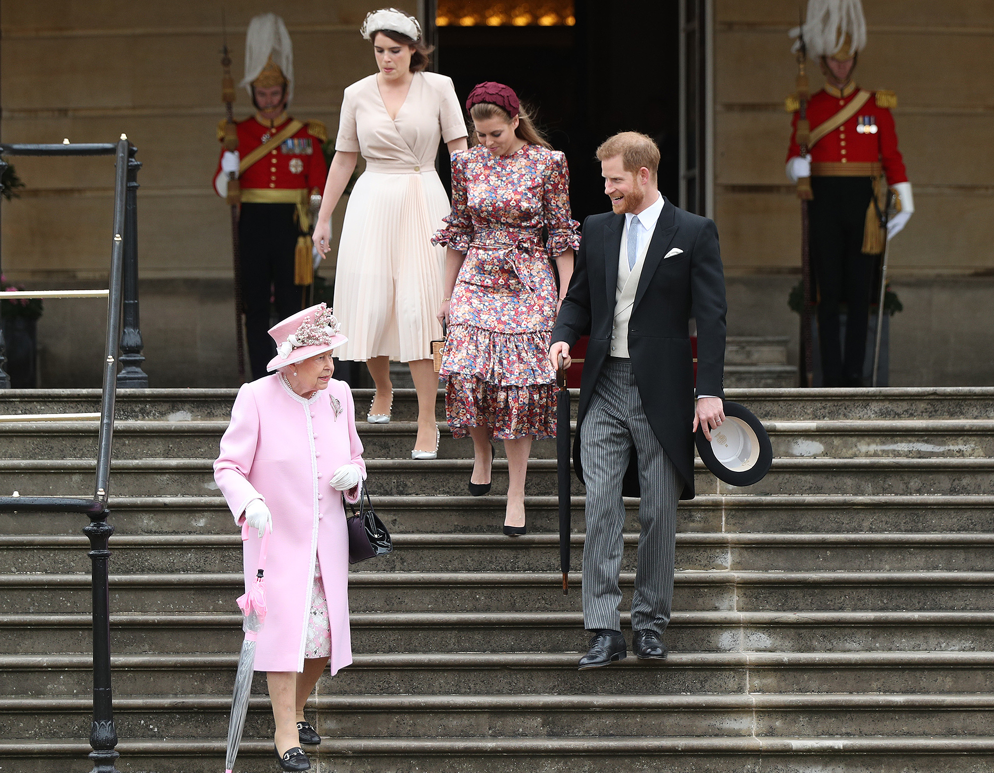 Queen Elizabeth II, Prince Harry, Duke of Sussex, Princess Eugenie and Princess Beatrice