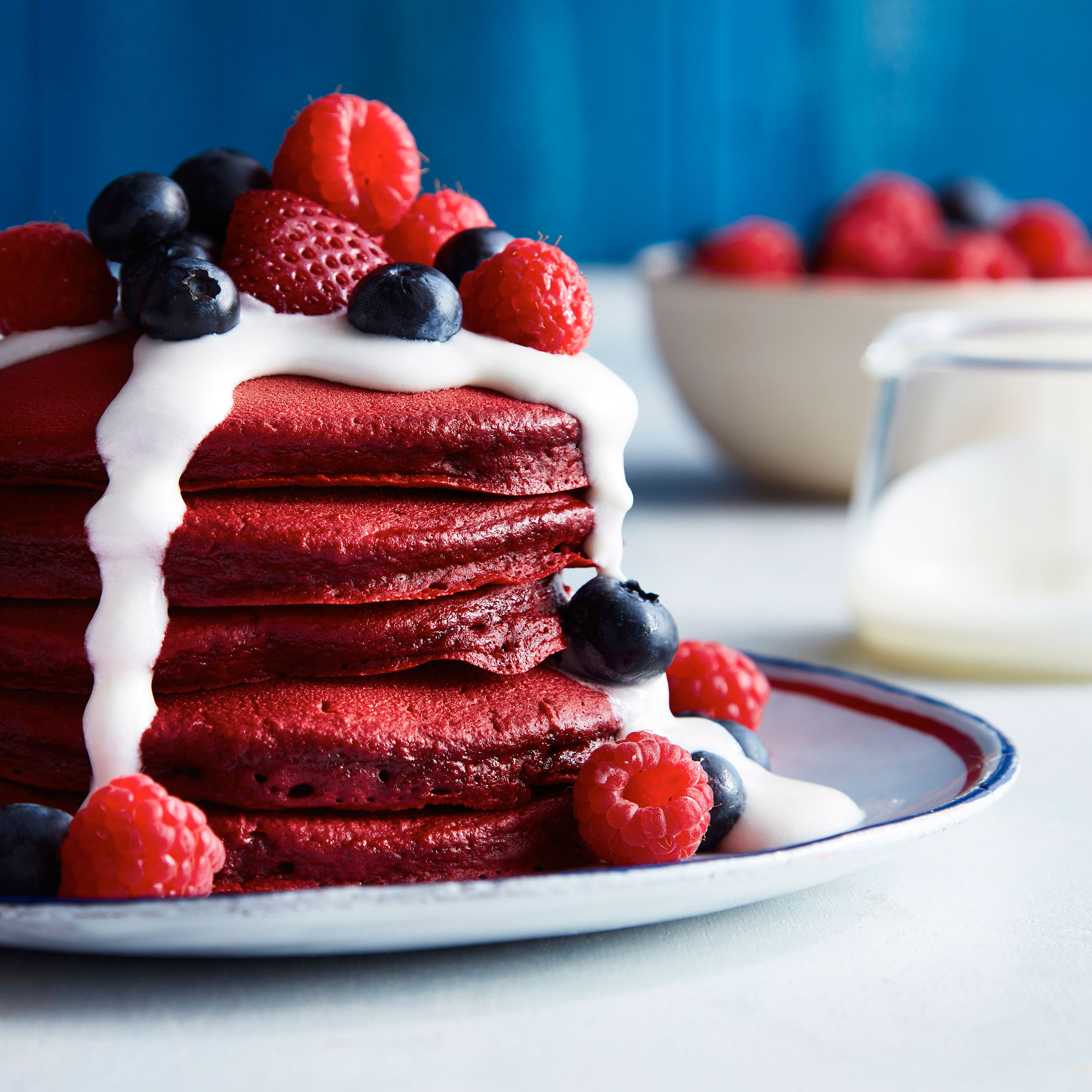 RED VELVET PANCAKES WITH COCONUT SYRUP