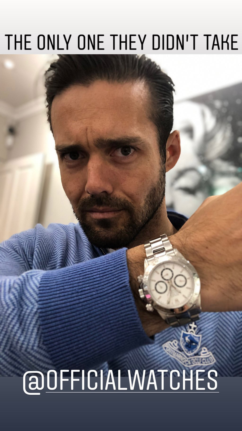 Spencer Matthews outside The Hour House on Duke Street, Westminster, where moped-riding armed robbers targeted the luxury watch shop, making off with items stolen from the smashed shop window.