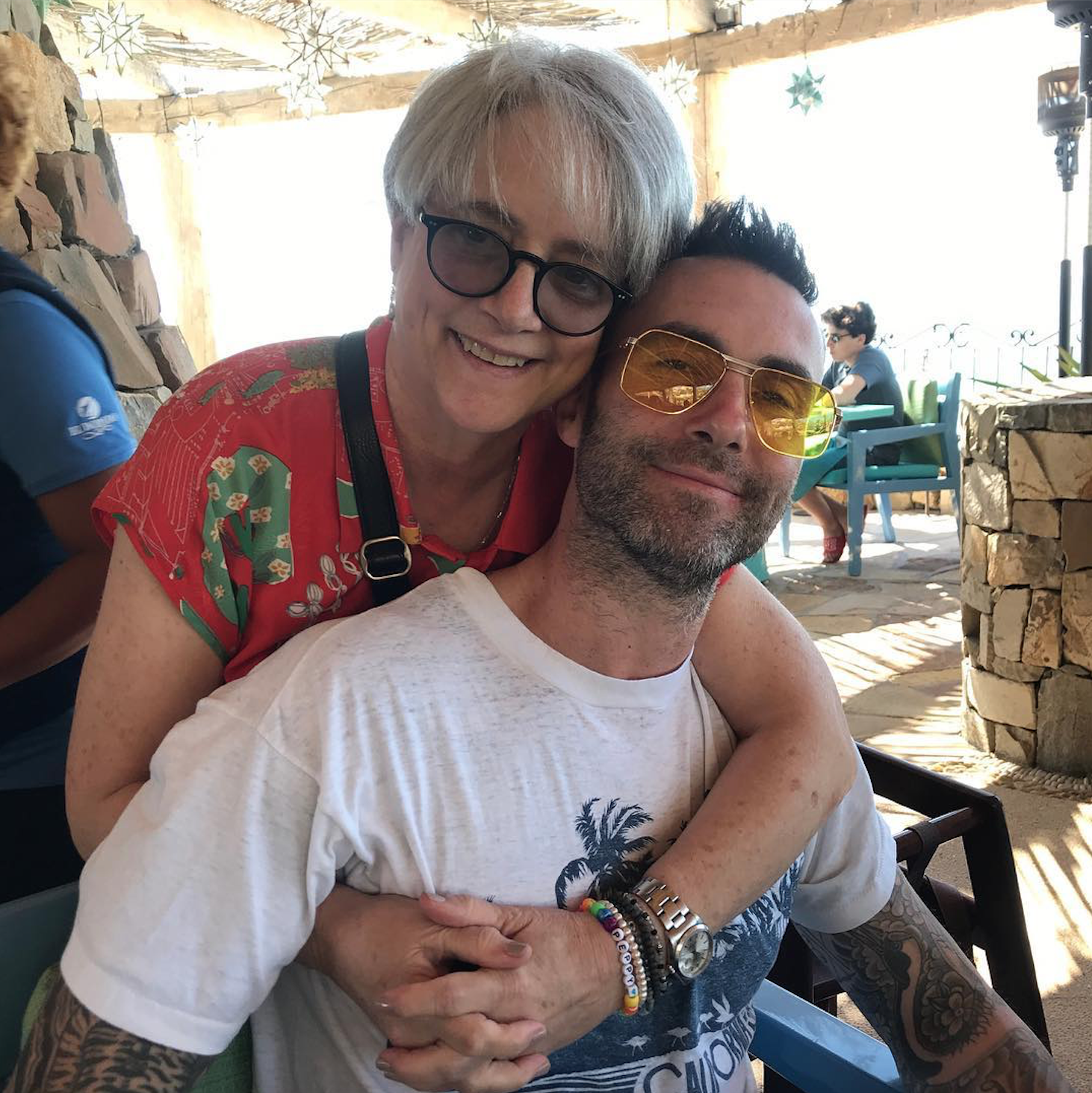 Adam Levine and his mother