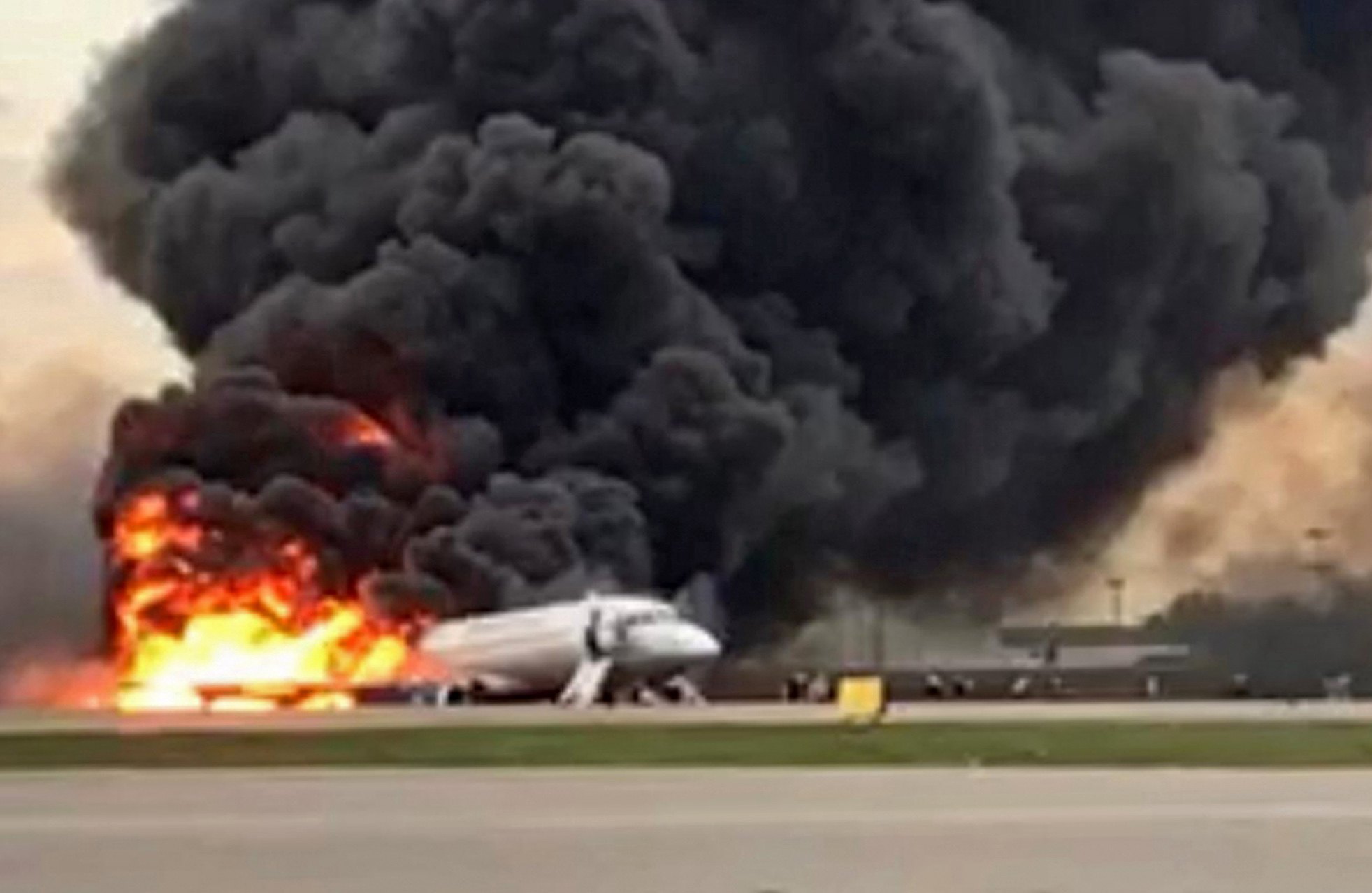 Sukhoi Superjet 100 of Russian airline Aeroflot burning at Moscow's Sheremetyevo airport