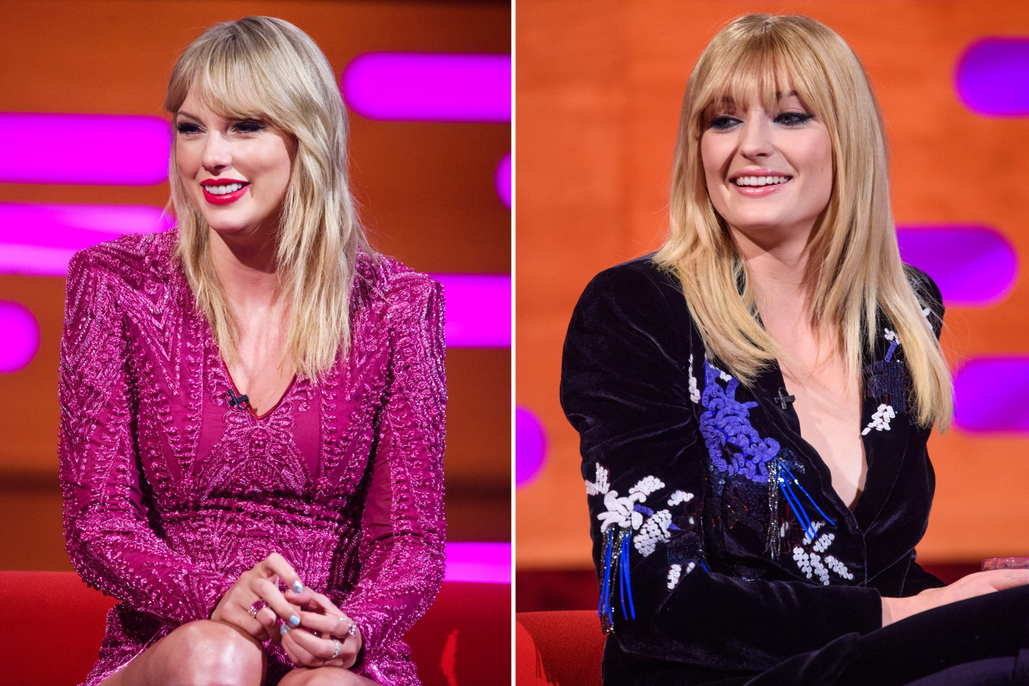 Taylor Swift and Sophie Turner during the filming of the Graham Norton Show