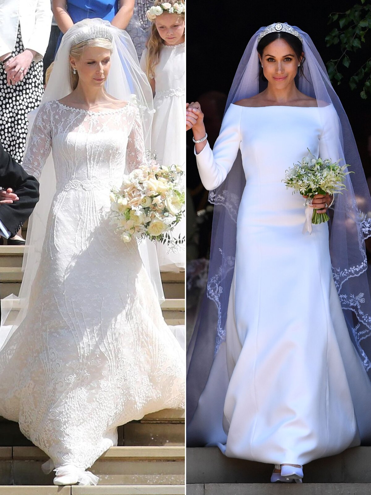 lady gabriella s wedding dress side by side with meghan markle people com lady gabriella s wedding dress side by