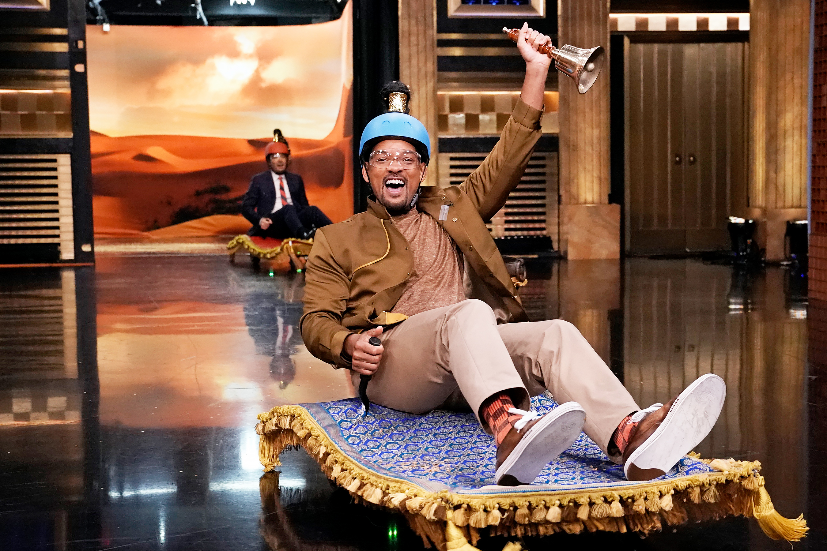 "Host Jimmy Fallon and actor Will Smith during ""Magic Carpet Race"" on May 6, 2019"