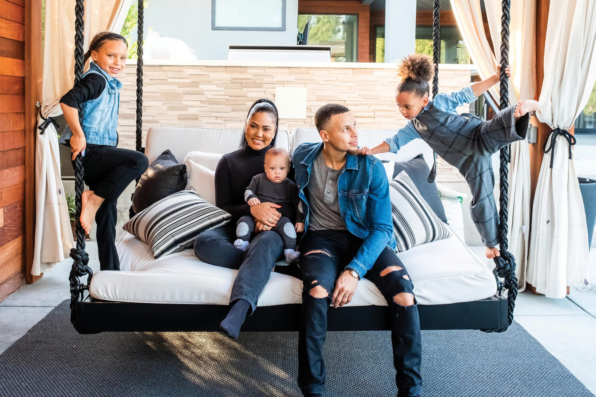 Ayesha Curry and Family in Working Mother Mag