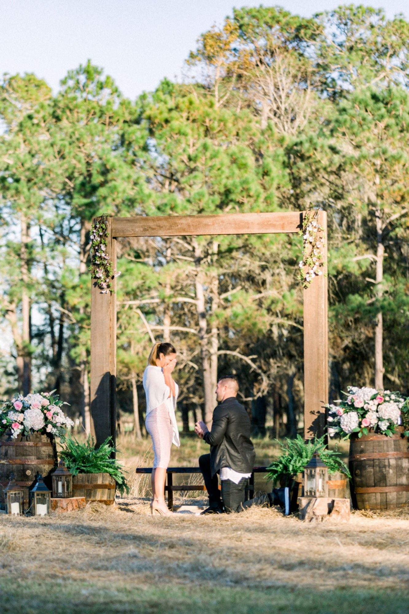 """The former NFL quarterback raised the bar on a millennial trend when he whisked Demi-Leigh Nel-Peters to his family's Florida farm and slipped a 7.25-carat solitaire ring on her finger. Then singer Mathew Mole stepped out from behind a bale of hay to serenade the couple with """"The Wedding Song."""""""