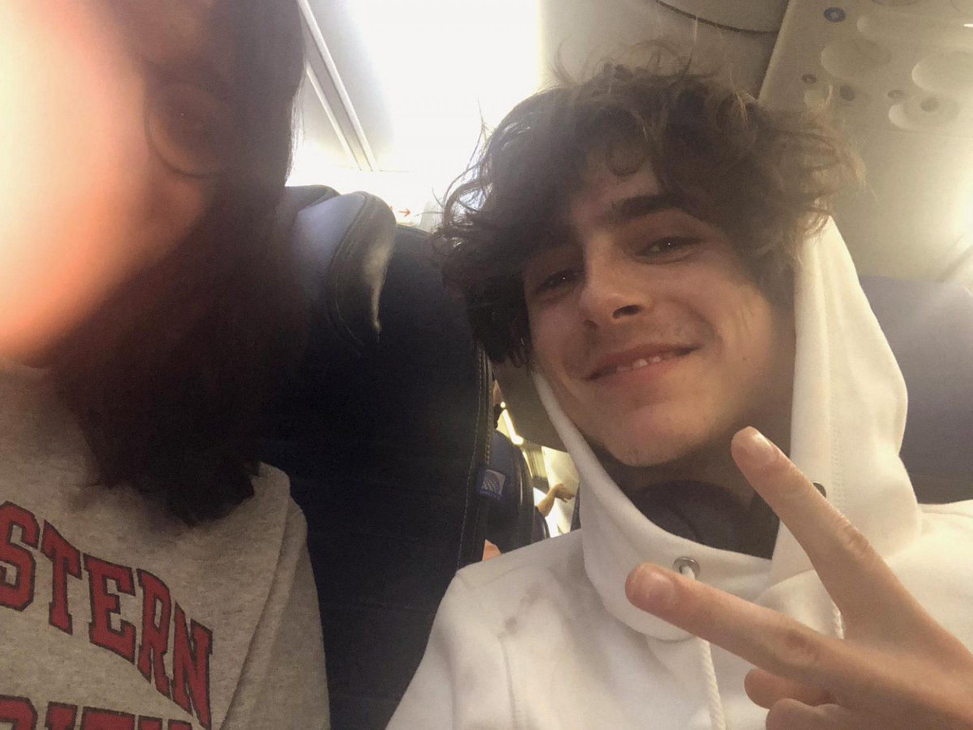 """The actor, 23, proved he's a nice person when he was seated on a plane- in economy class-next to superfan Alankrutha Giridhar, who live-tweeted the ride (and took this hoodie pic). He answered all of her questions, and she wrote, """"What shocks me the most is this dude wanted to know about me!"""""""