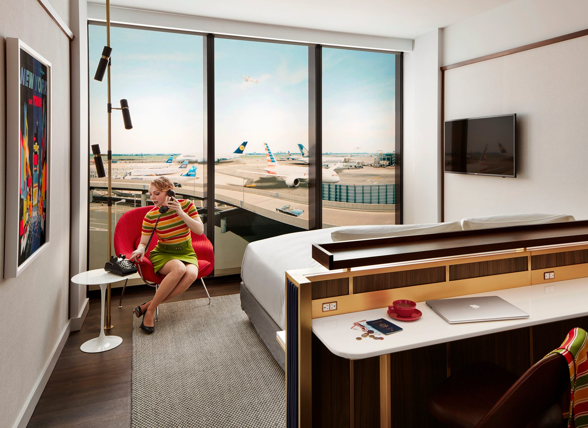 TWA's 1960s flight center, designed by architect Eero Saarinen, closed in 2001, along with the airline. Renovated as a hotel, it has 512 rooms. Rates start at $249 per night, or you can book a four-hour stay for $139.
