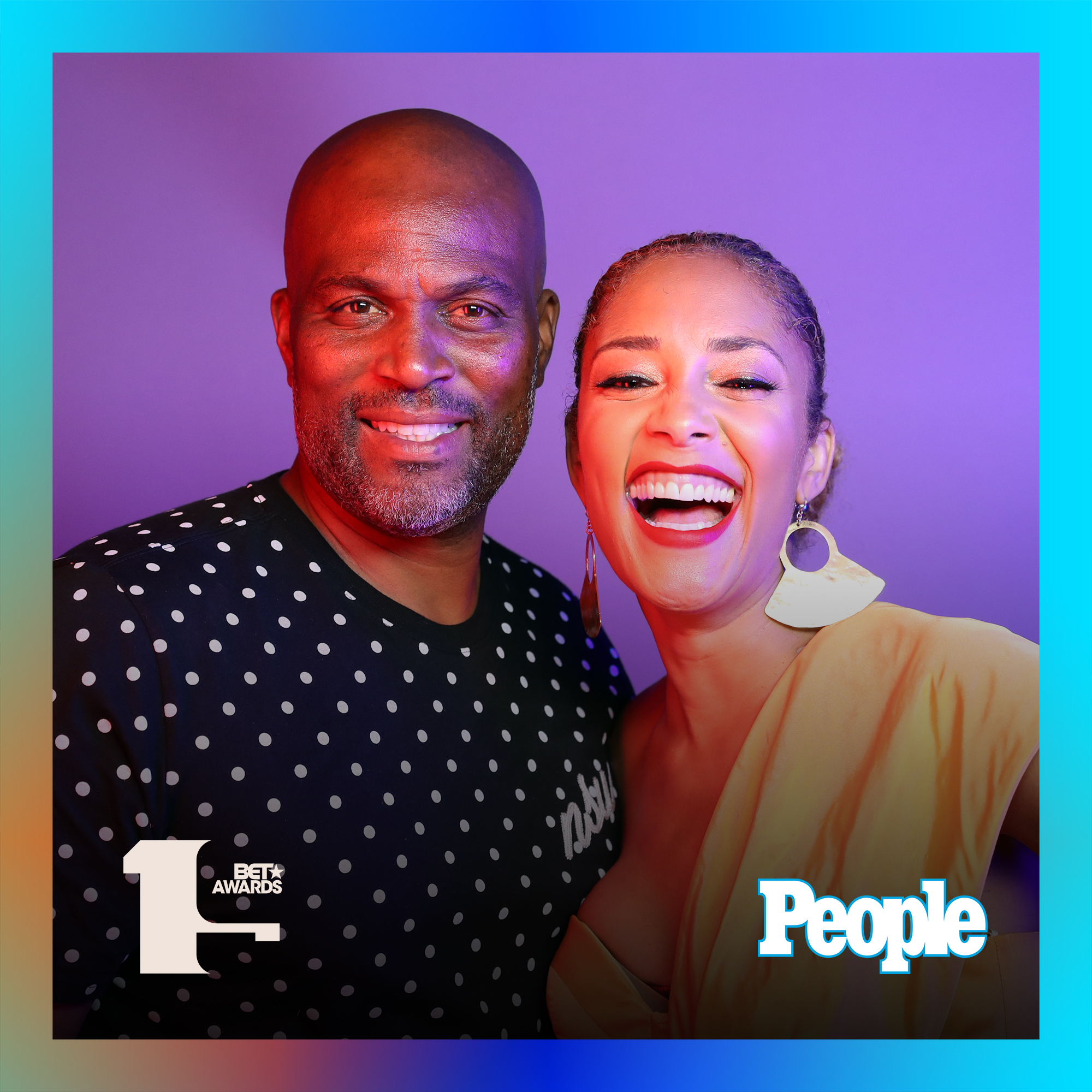 Chris Spencer and Amanda Seales photographed at the 2019 BET Awards by Bennett Raglin exclusively for PEOPLE Credit: Bennett Raglin