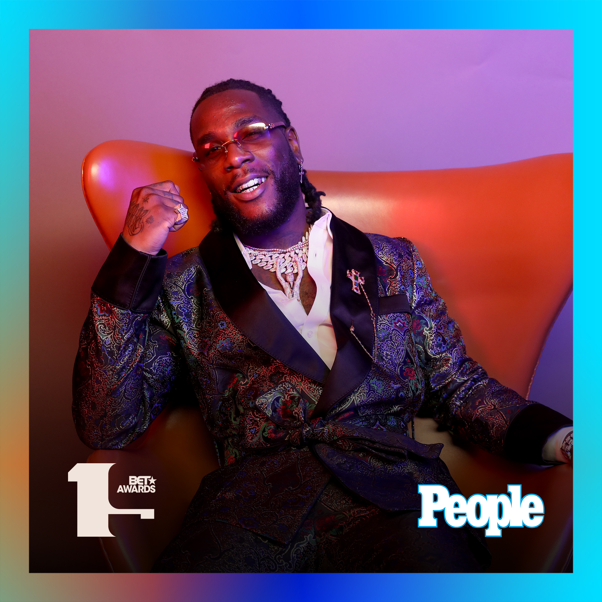 Burna Boy photographed at the 2019 BET Awards by Bennett Raglin exclusively for PEOPLE Credit: Bennett Raglin