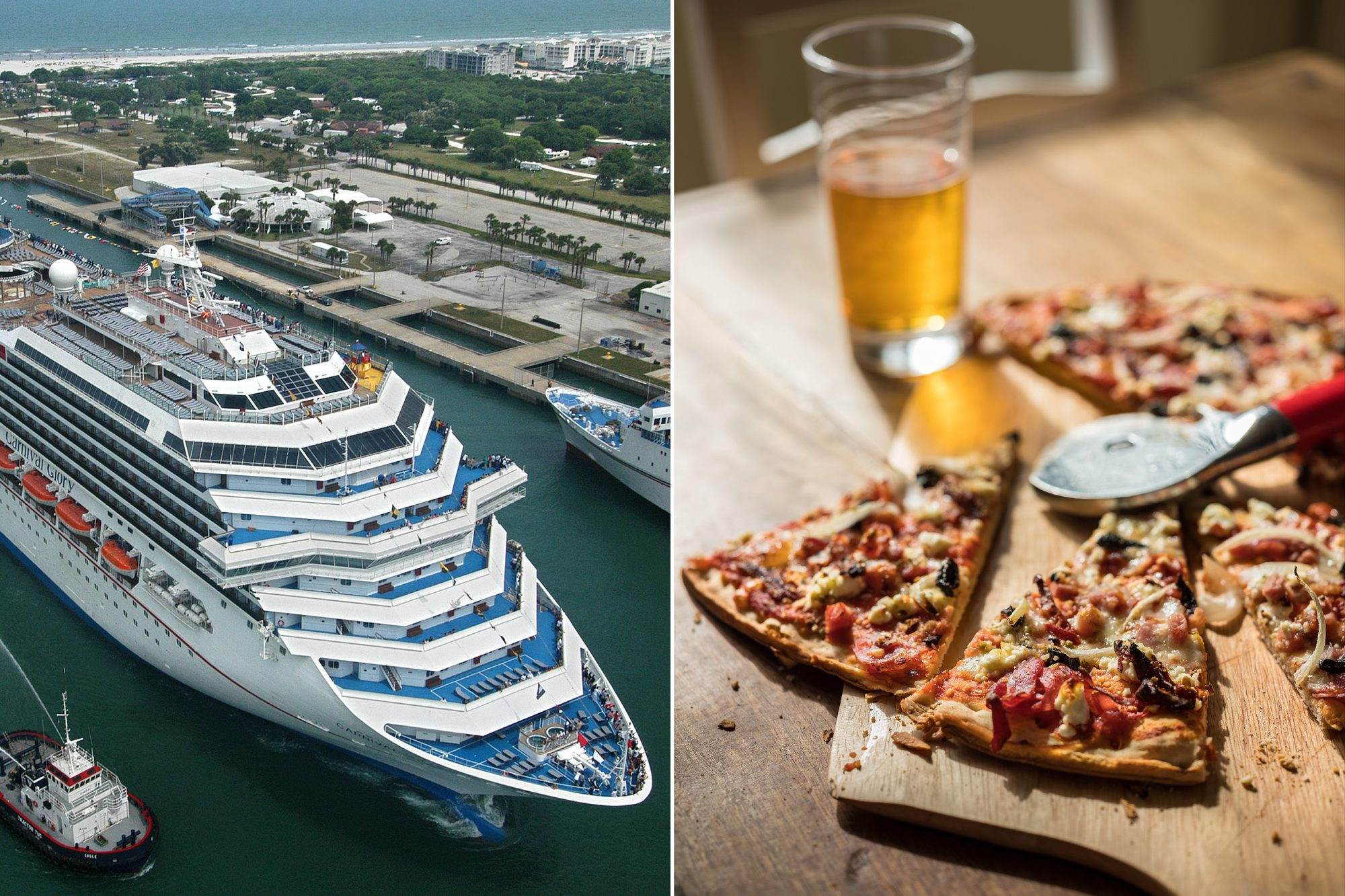 Carnival ship, beer and pizza