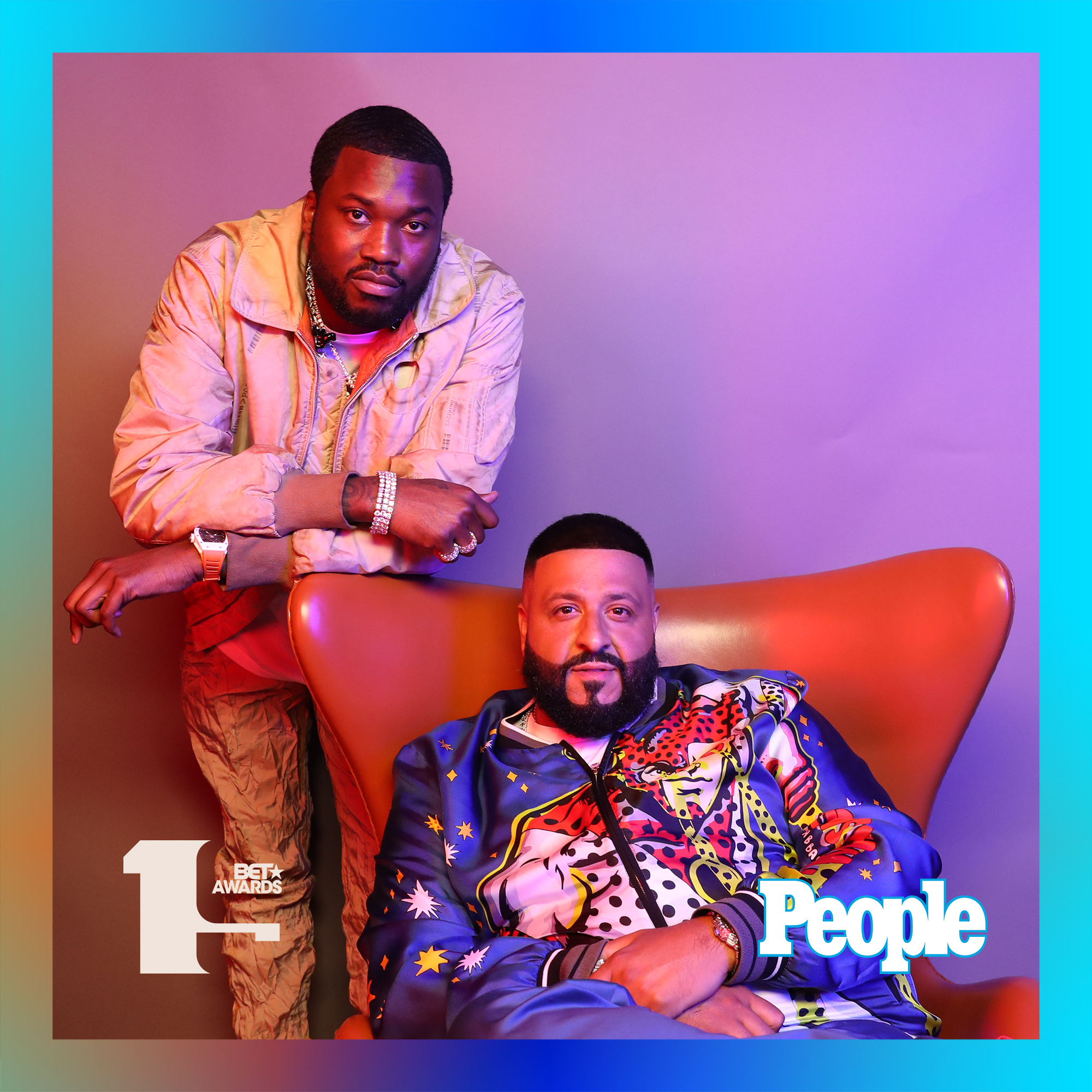 Meek Mill and DJ Khaled photographed at the 2019 BET Awards by Bennett Raglin exclusively for PEOPLE Credit: Bennett Raglin