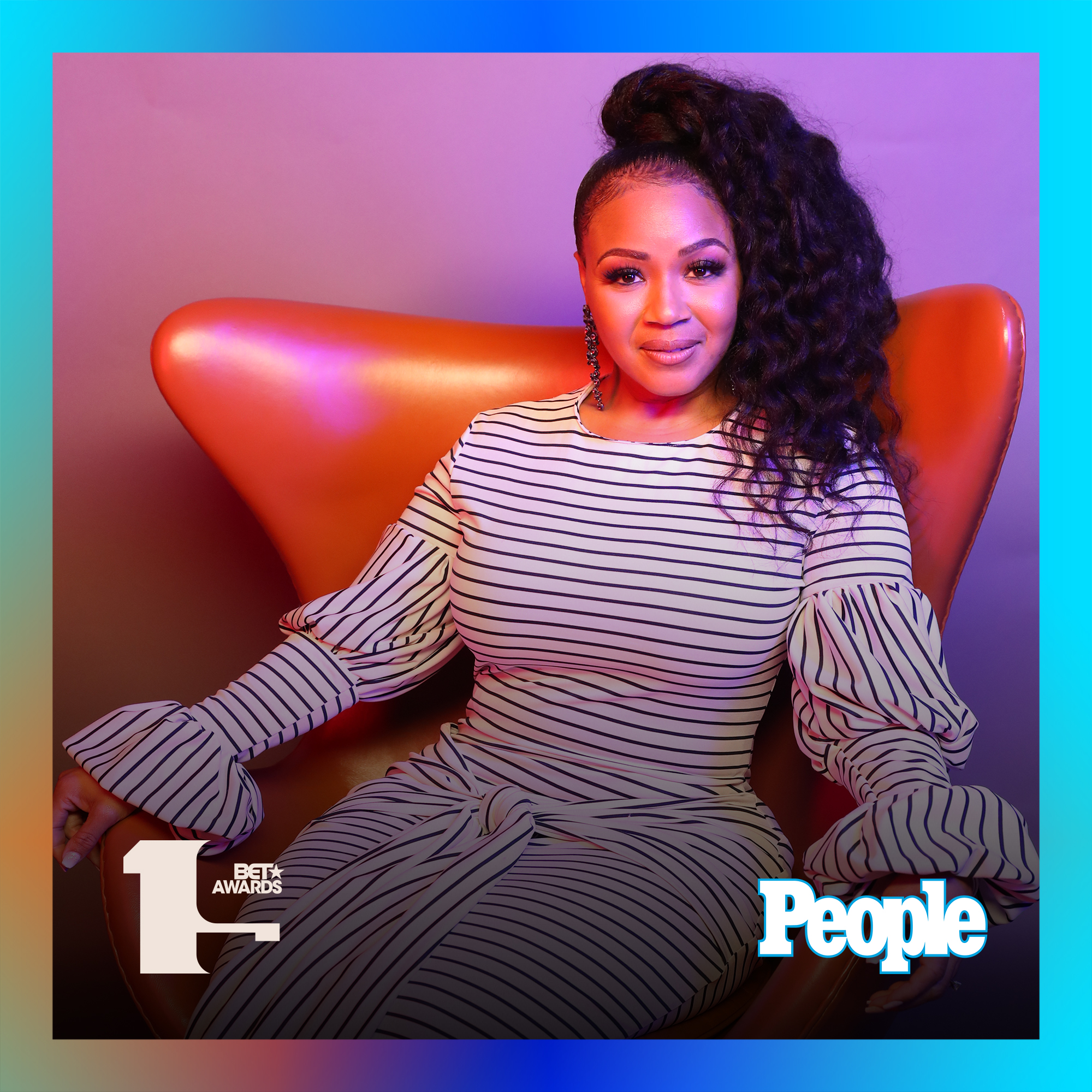 Erica Campbell photographed at the 2019 BET Awards by Bennett Raglin exclusively for PEOPLE Credit: Bennett Raglin