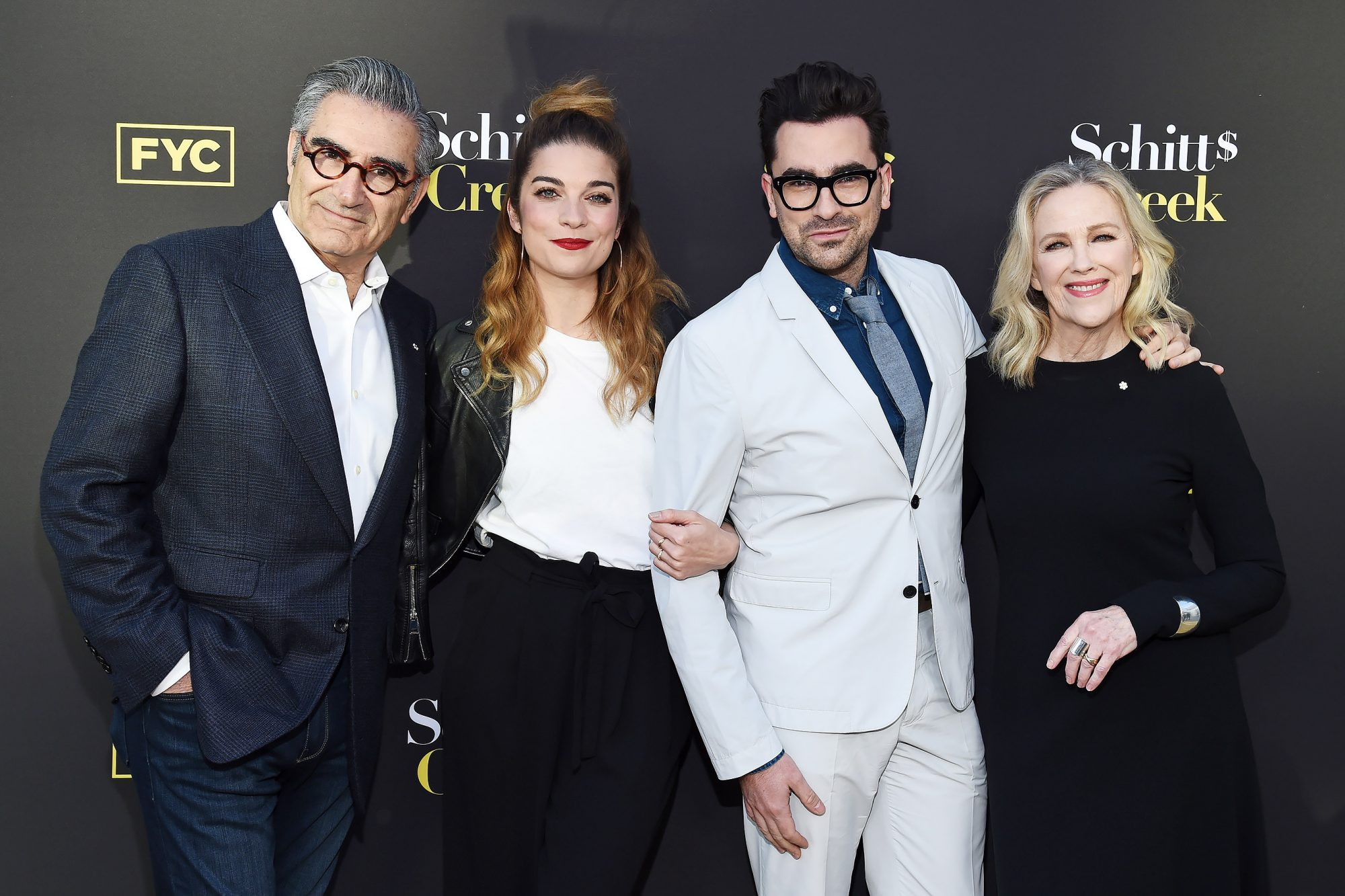 Eugene Levy, Annie Murphy, Daniel Levy and Catherine O'Hara
