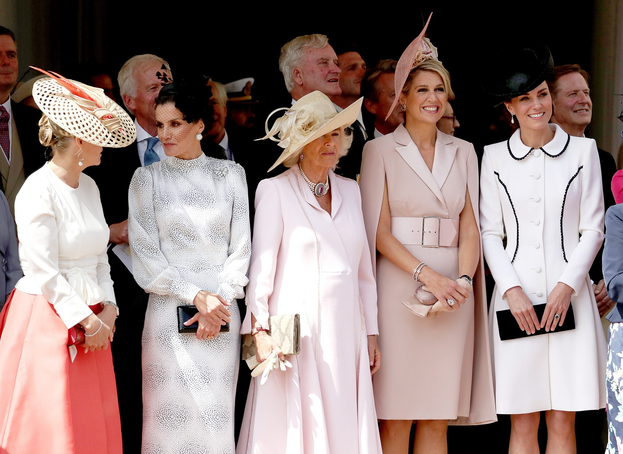 Order of the Garter Service 2019. (left to right) Sophie Countess of Wessex, Queen Letizia of Spain, the Duchess of Cornwall, Queen Maxima of the Netherlands and the Duchess of Cambridge
