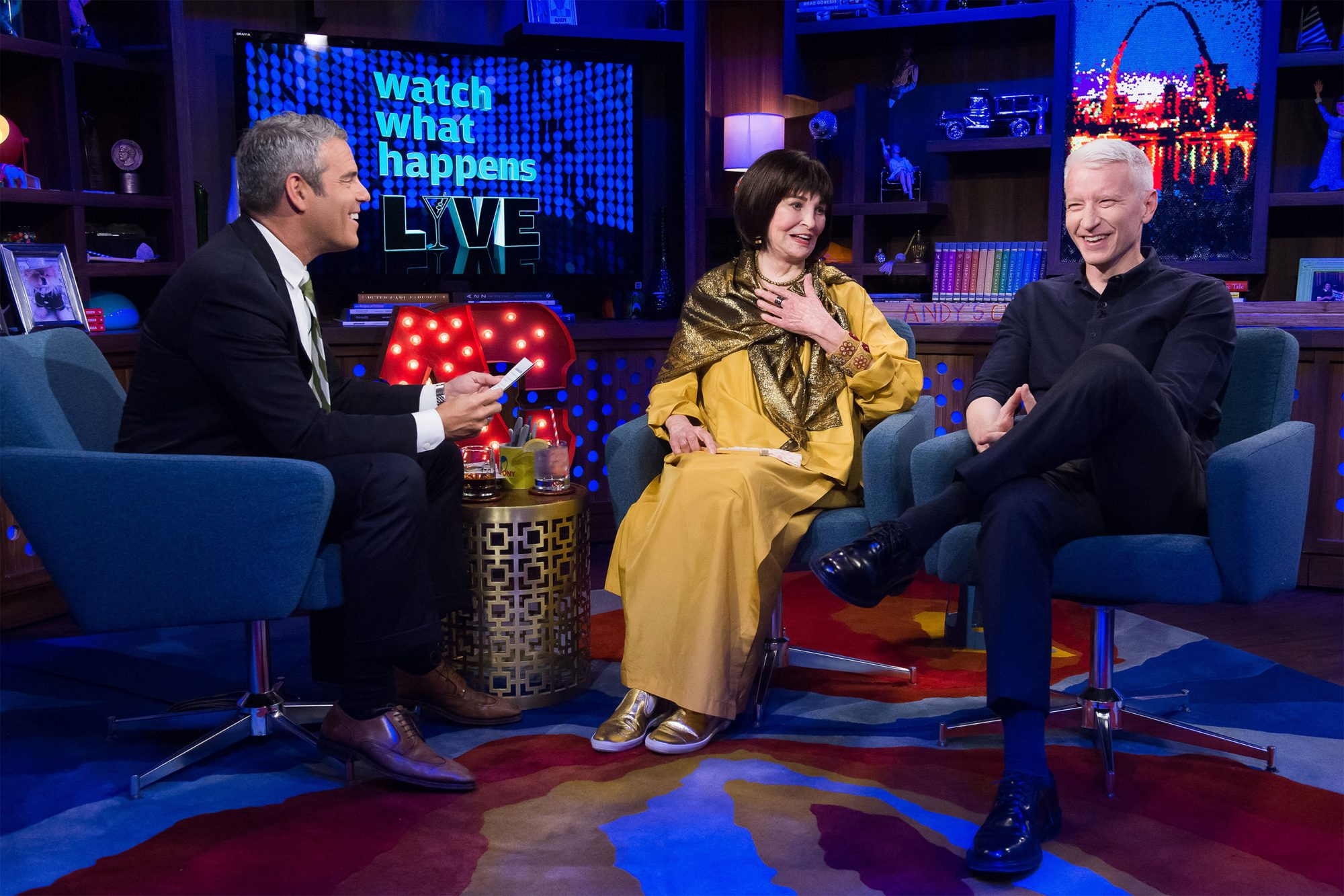 Andy Cohen, Gloria Vanderbilt and Anderson Cooper