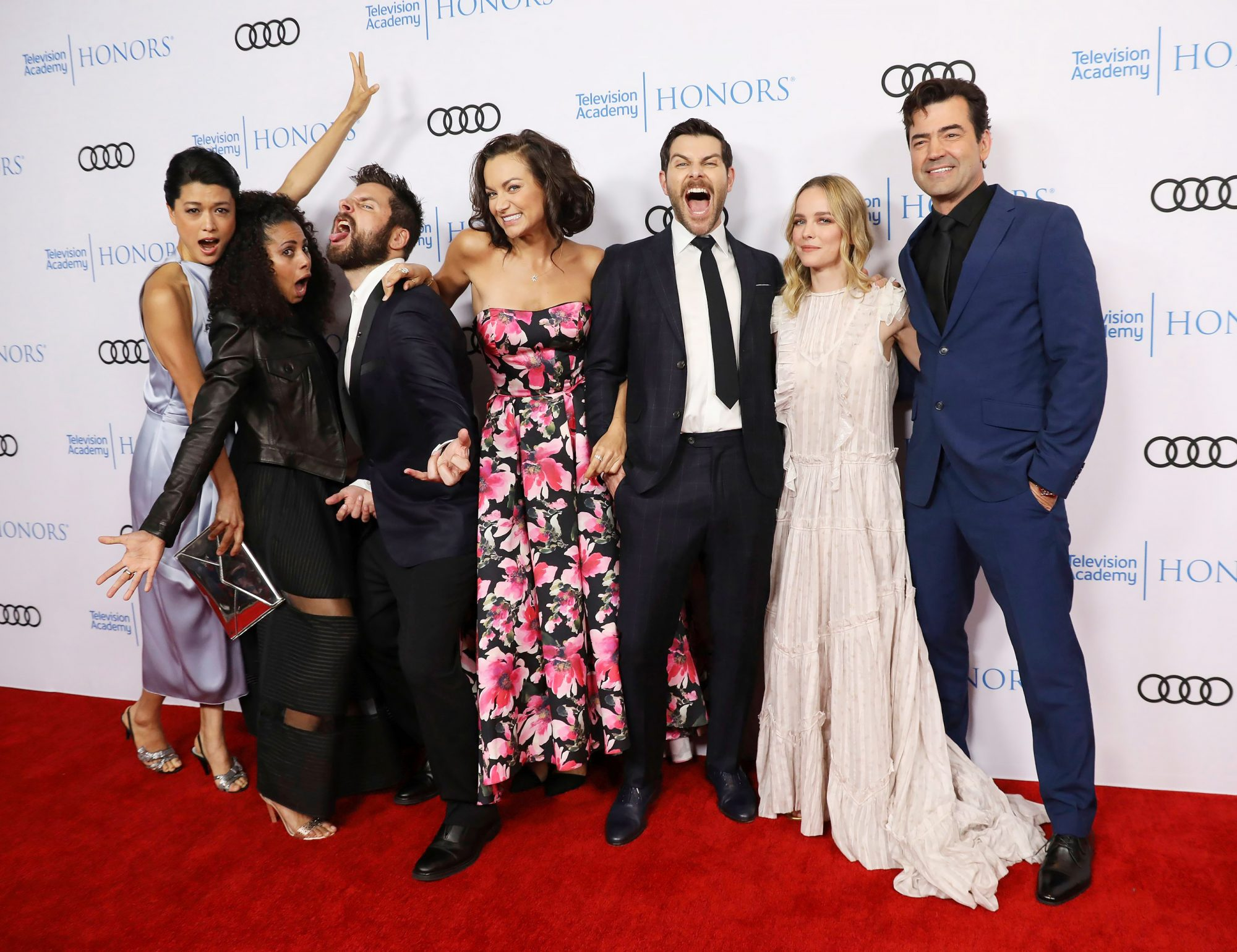 Grace Park, from left, Christina Moses, James Roday, Christina Ochoa, David Giuntoli, Allison Miller, Ron Livingston