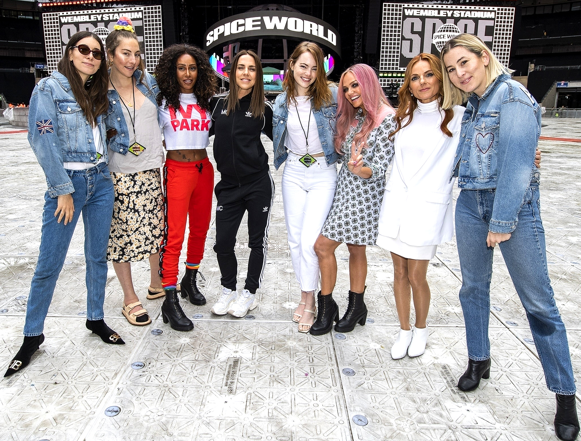 The Spice Girls meet girl band HAIM and Actress Emma Stone