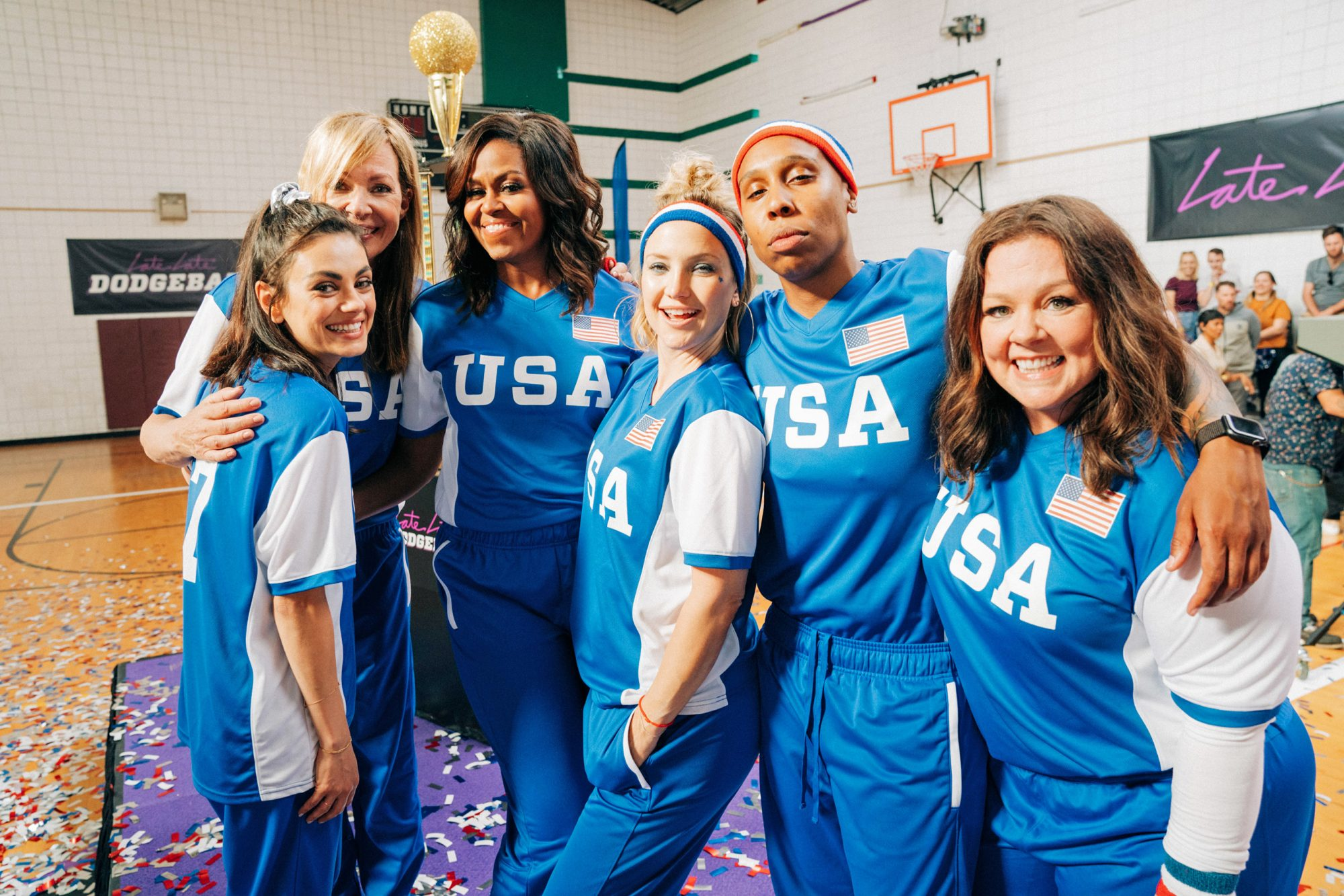 Former First Lady Michelle Obama Leads Team USA against James Corden's Team UK in an epic USA vs UK Dodgeball Game, featuring Melissa McCarthy, Benedict Cumberbatch, Harry Styles, Kate Hudson, Allison Janney, Mila Kunis, Lena Waithe and John Bradley, on The Late Late Show with James Corden