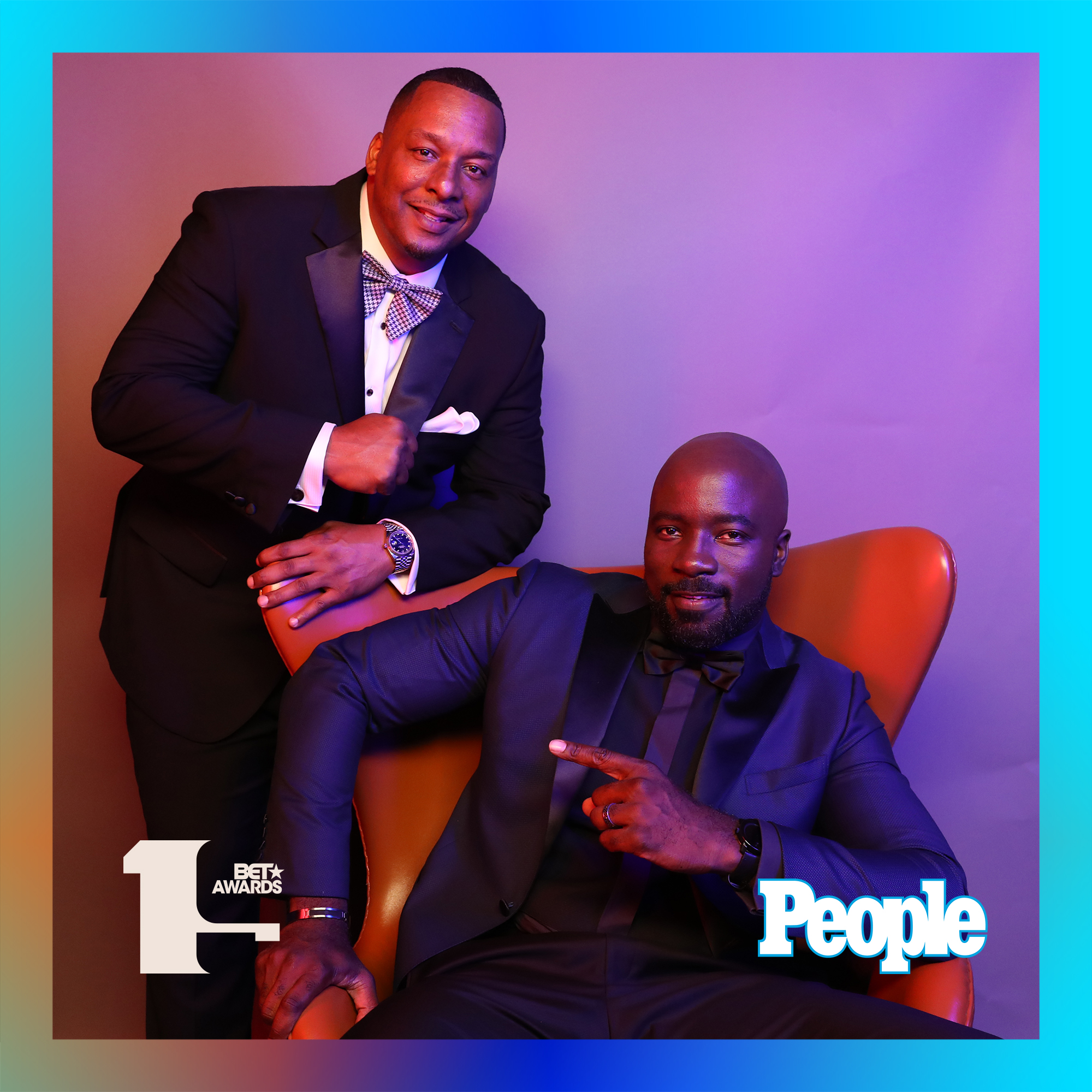 Deon Taylor and Mike Colter photographed at the 2019 BET Awards by Bennett Raglin exclusively for PEOPLE Credit: Bennett Raglin