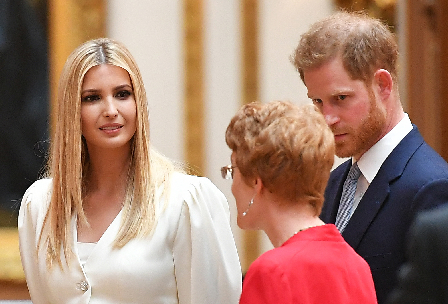Ivanka Trump (L) and Britain's Prince Harry, Duke of Sussex