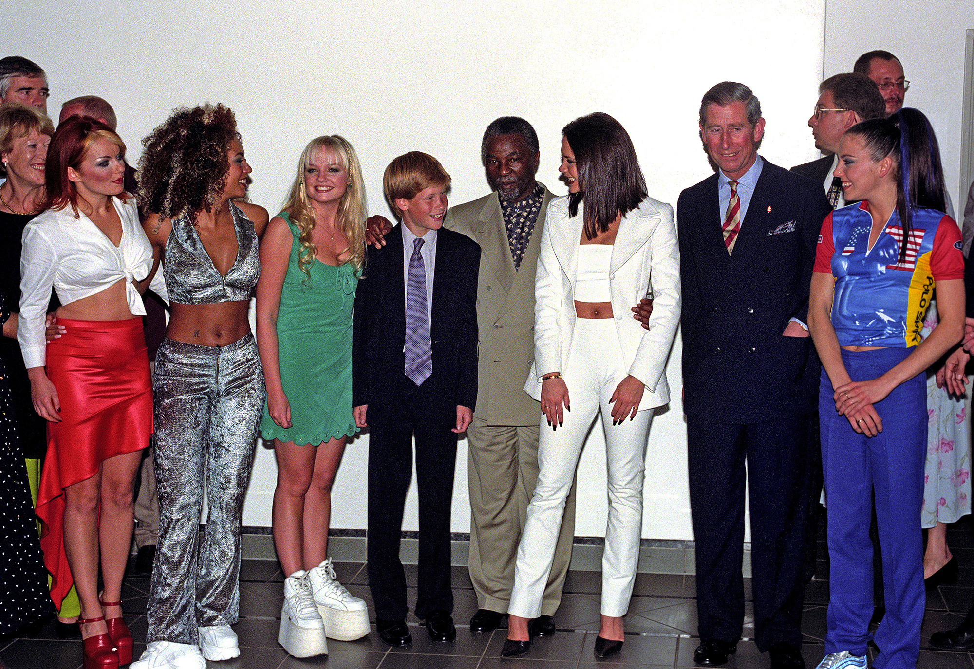Prince Charles (second right) and Prince Harry (centre left) and South African Politician Thabo Mbeki (centre right) meet the Spice Girls