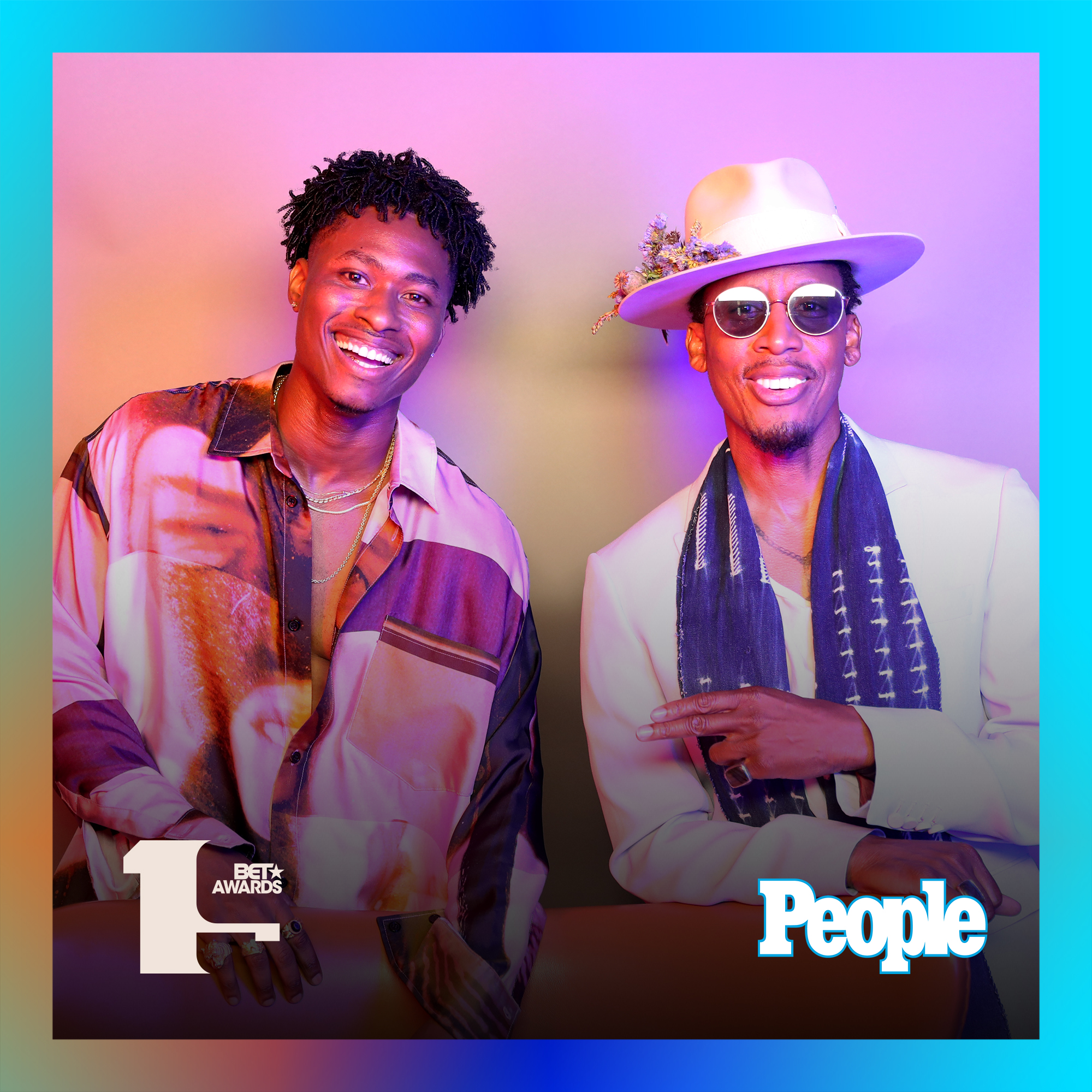 Lucky Daye and Raphael Saadiq photographed at the 2019 BET Awards by Bennett Raglin exclusively for PEOPLE Credit: Bennett Raglin
