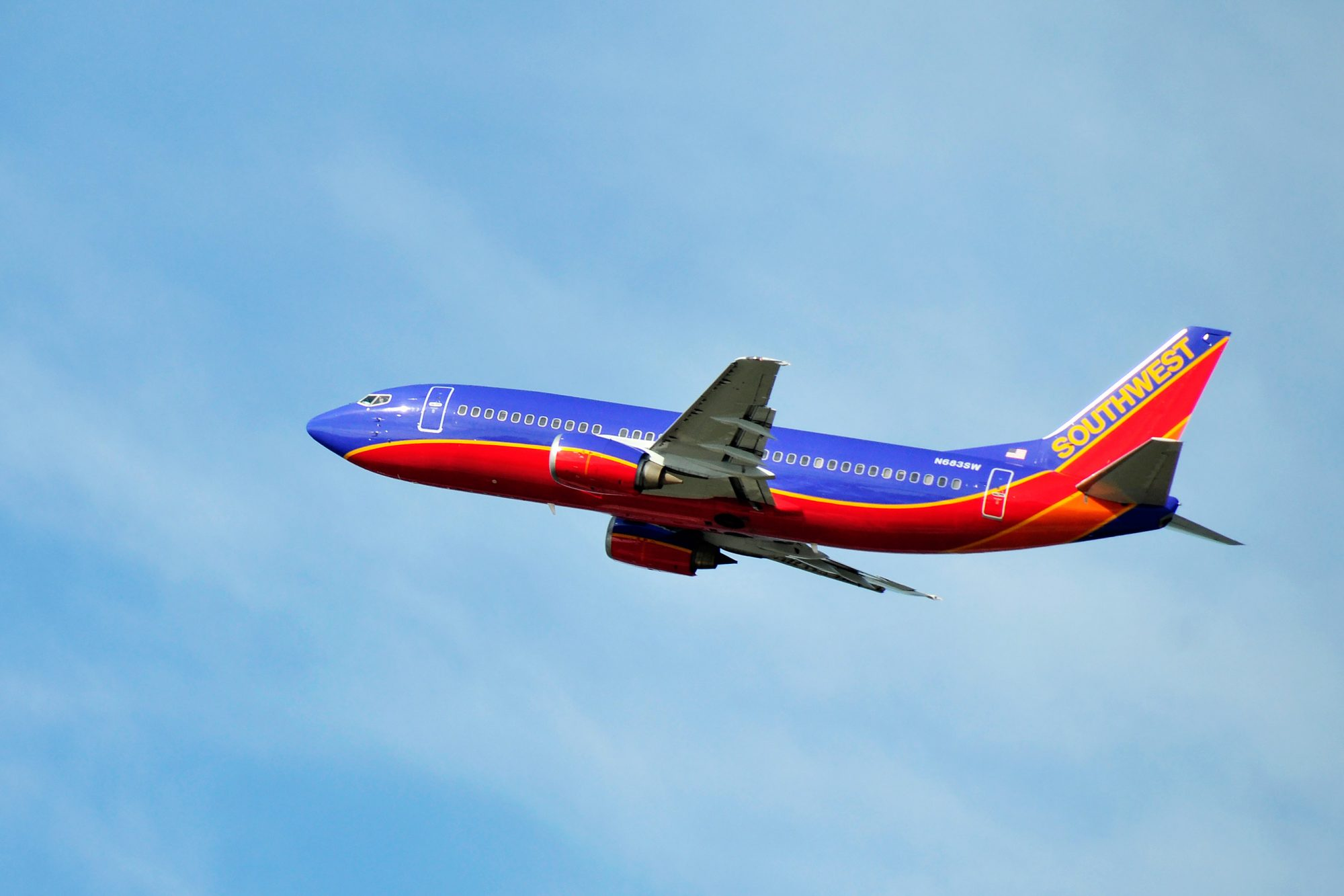 Southwest jet aircraft departing, Orlando International Airport
