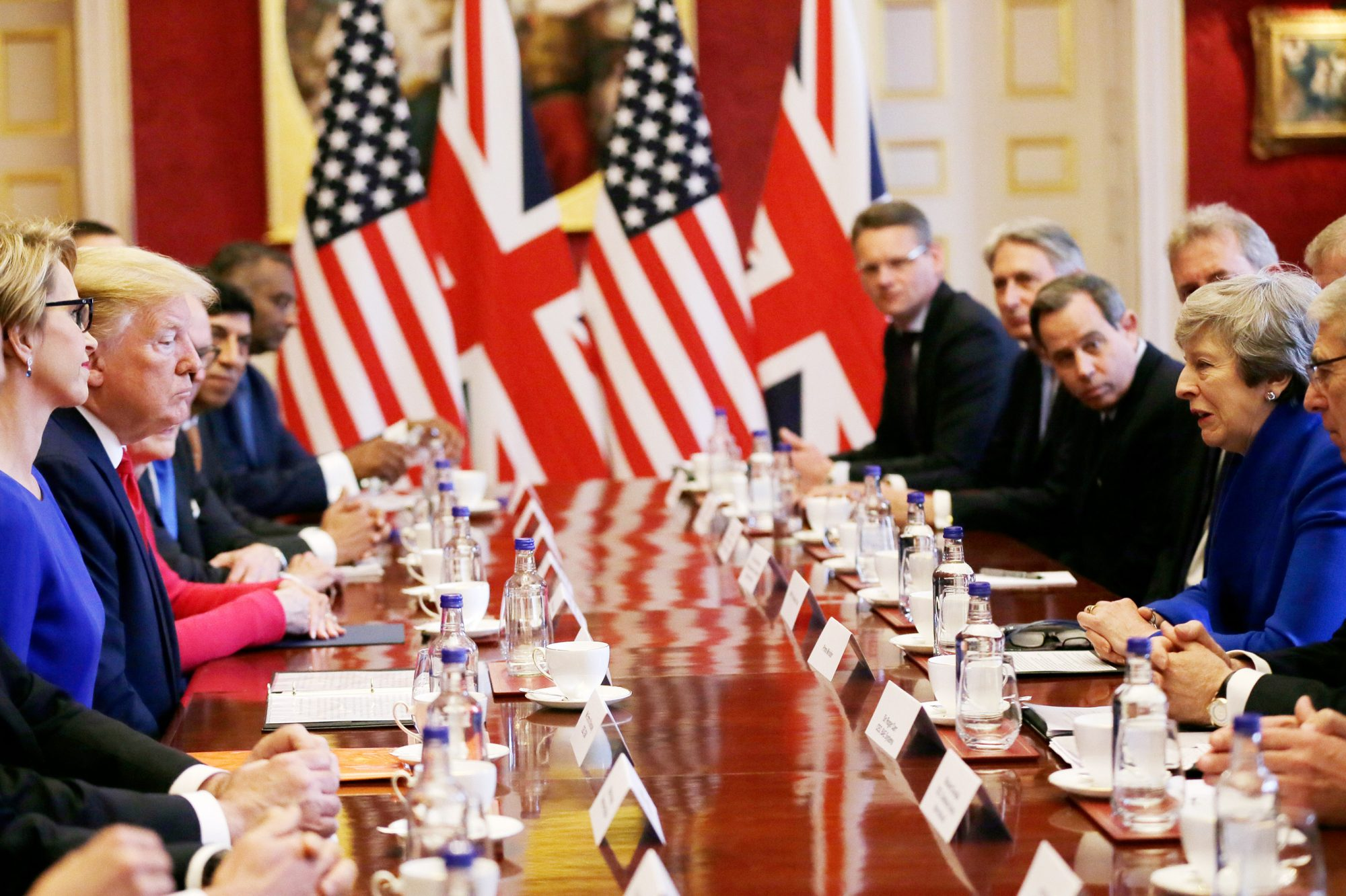 British Prime Minister Theresa May hosts a business round table event with U.S President Donald Trump at St. James's Palace, during the second day of his State Visit on June 4, 2019 in London, England
