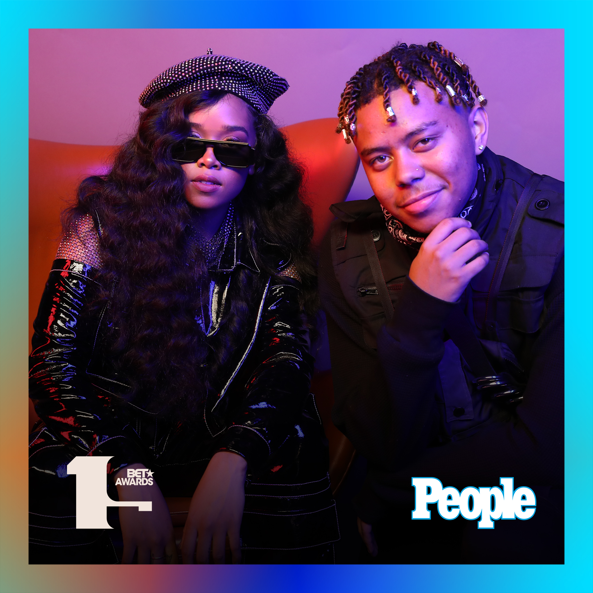 H.E.R. and YBN Cordae photographed at the 2019 BET Awards by Bennett Raglin exclusively for PEOPLE Credit: Bennett Raglin