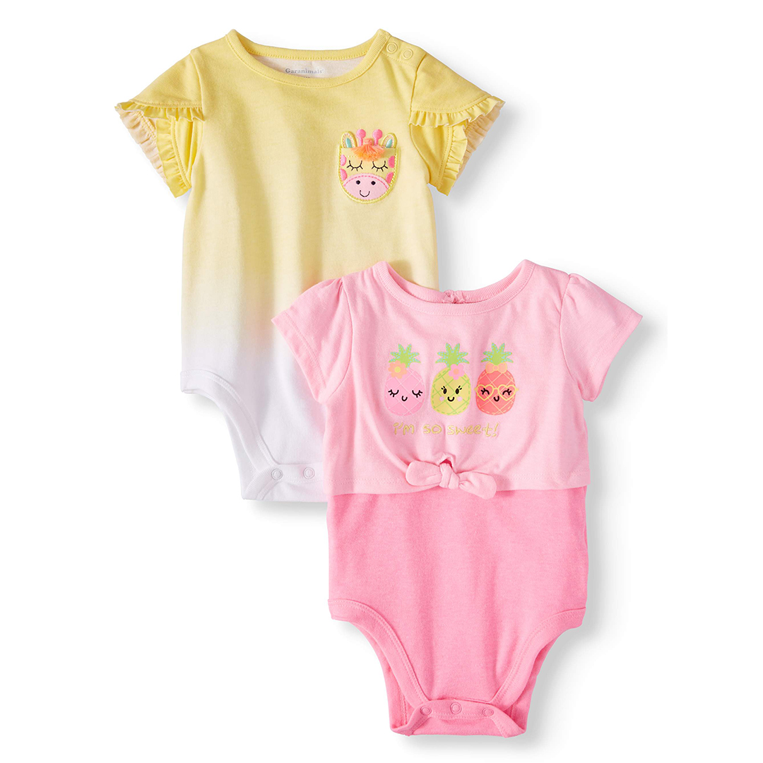 Garanimals Tulip Sleeve & Tie-Front Bodysuits, Two-Pack