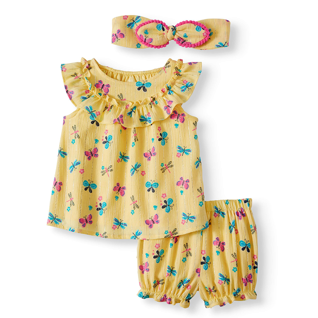 Wonder Nation Ruffled Top Babydoll Top, Diaper Cover, and Headband