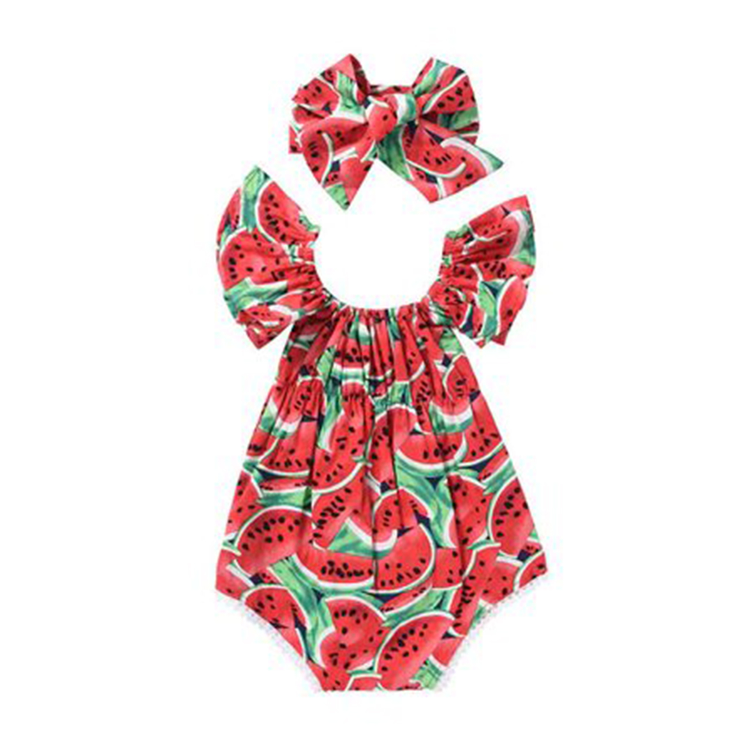 Gaono Watermelon Print Off Shoulder Ruffle Bodysuit With Headband