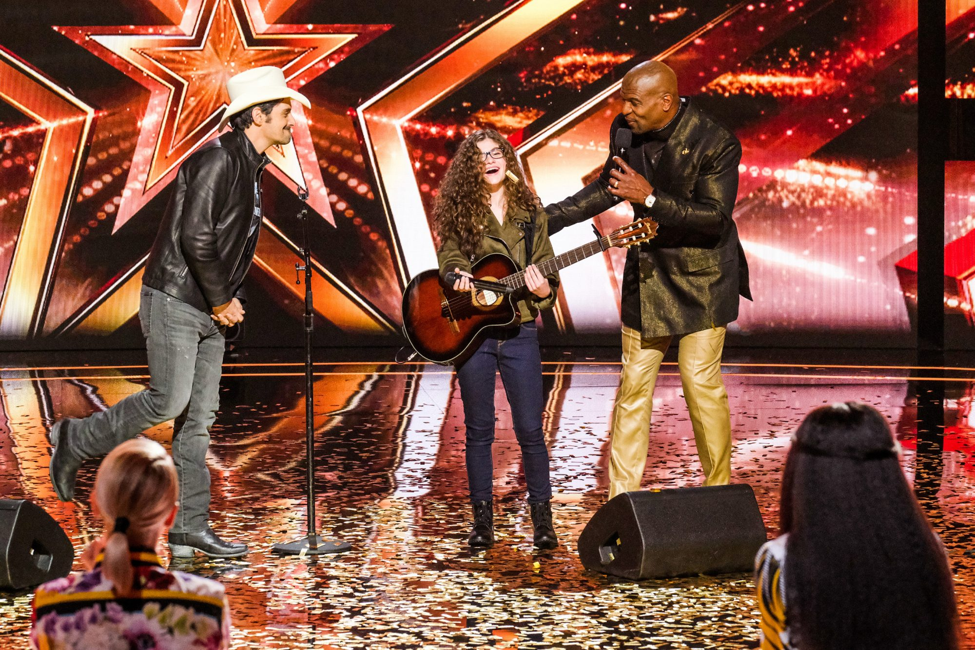 """AMERICA'S GOT TALENT -- """"Judge Cuts 1"""" Episode 1408 -- Pictured: (l-r) Brad Paisley, Sophie Pecora, Terry Crews -- (Photo by: Justin Lubin/NBC)"""