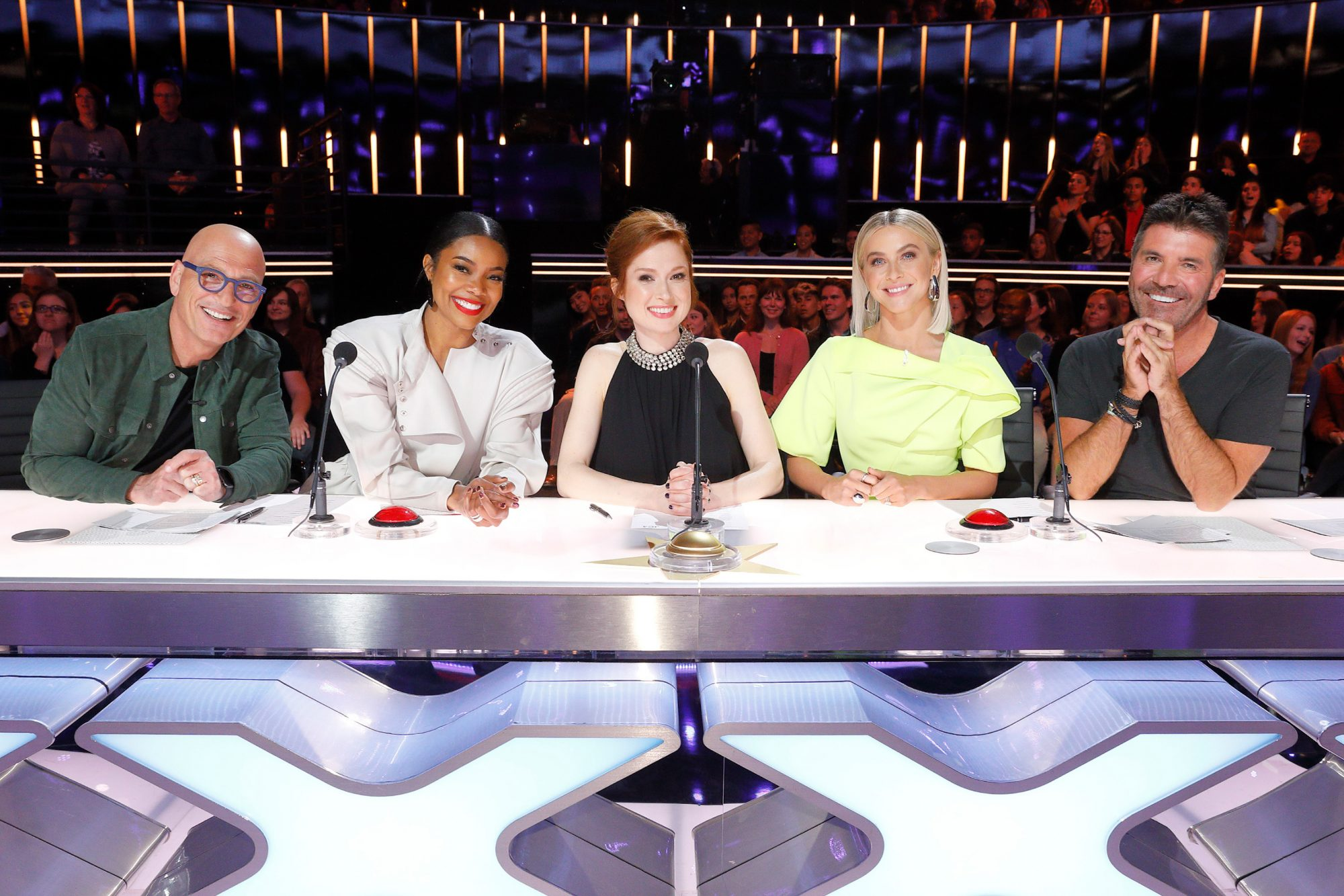 "AMERICA'S GOT TALENT -- ""Judge Cuts"" -- Pictured: (l-r) Howie Mandel, Gabrielle Union, Ellie Kemper, Julianne Hough, Simon Cowell -- (Photo by: Trae Patton/NBC)"