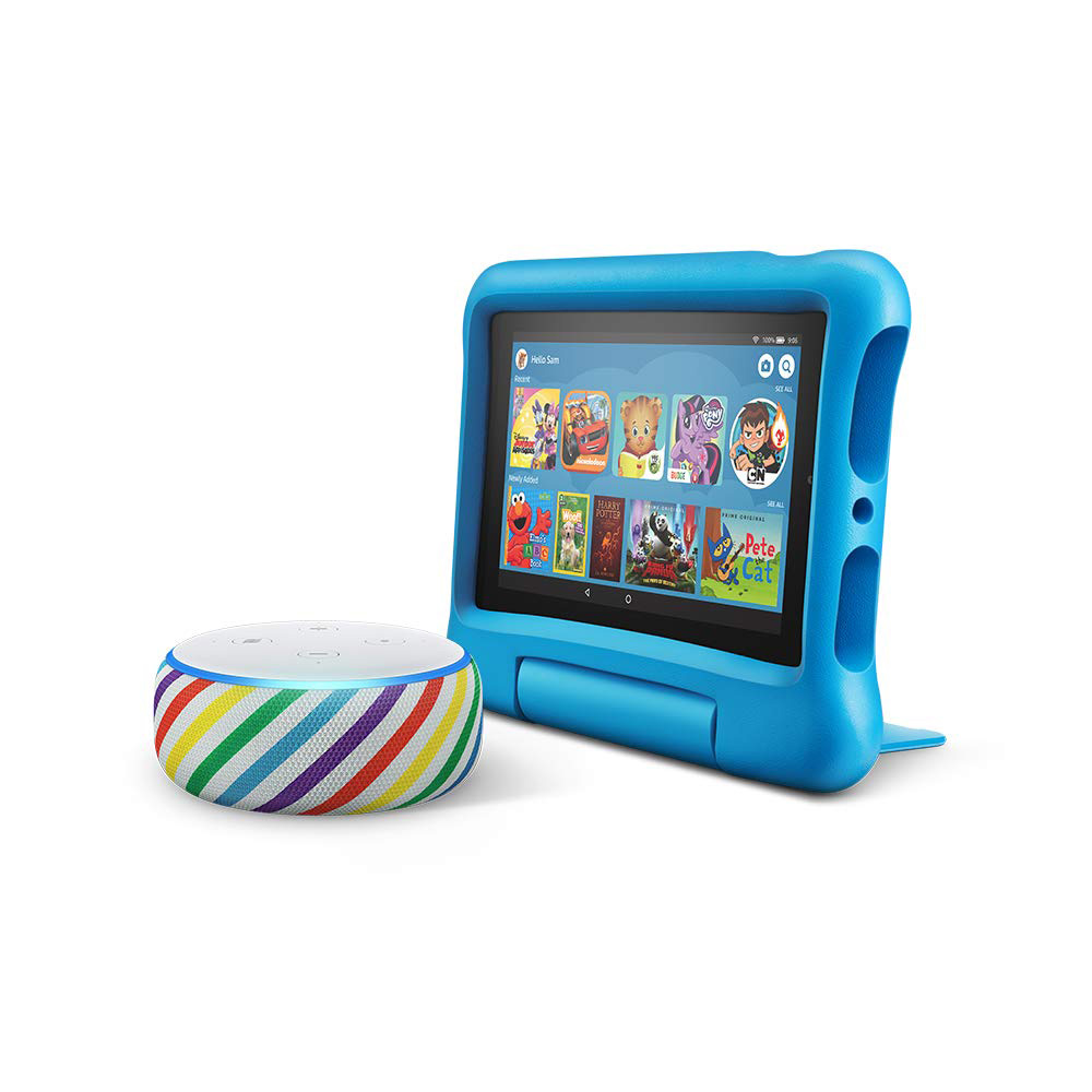 All-New Echo Dot Kids Edition, Rainbow with Fire 7 Kids Edition Tablet, Blue