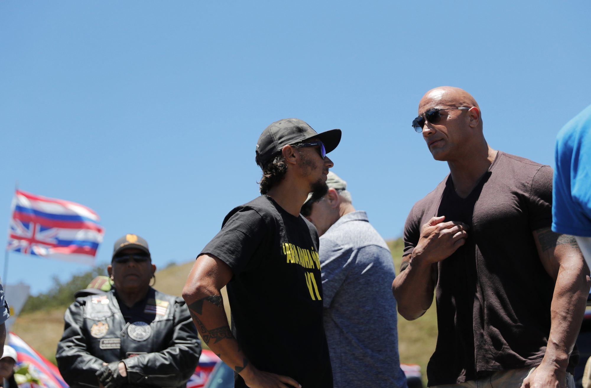 Dwayne Johnson at a protest in Mauna Kea on Hawaii Island