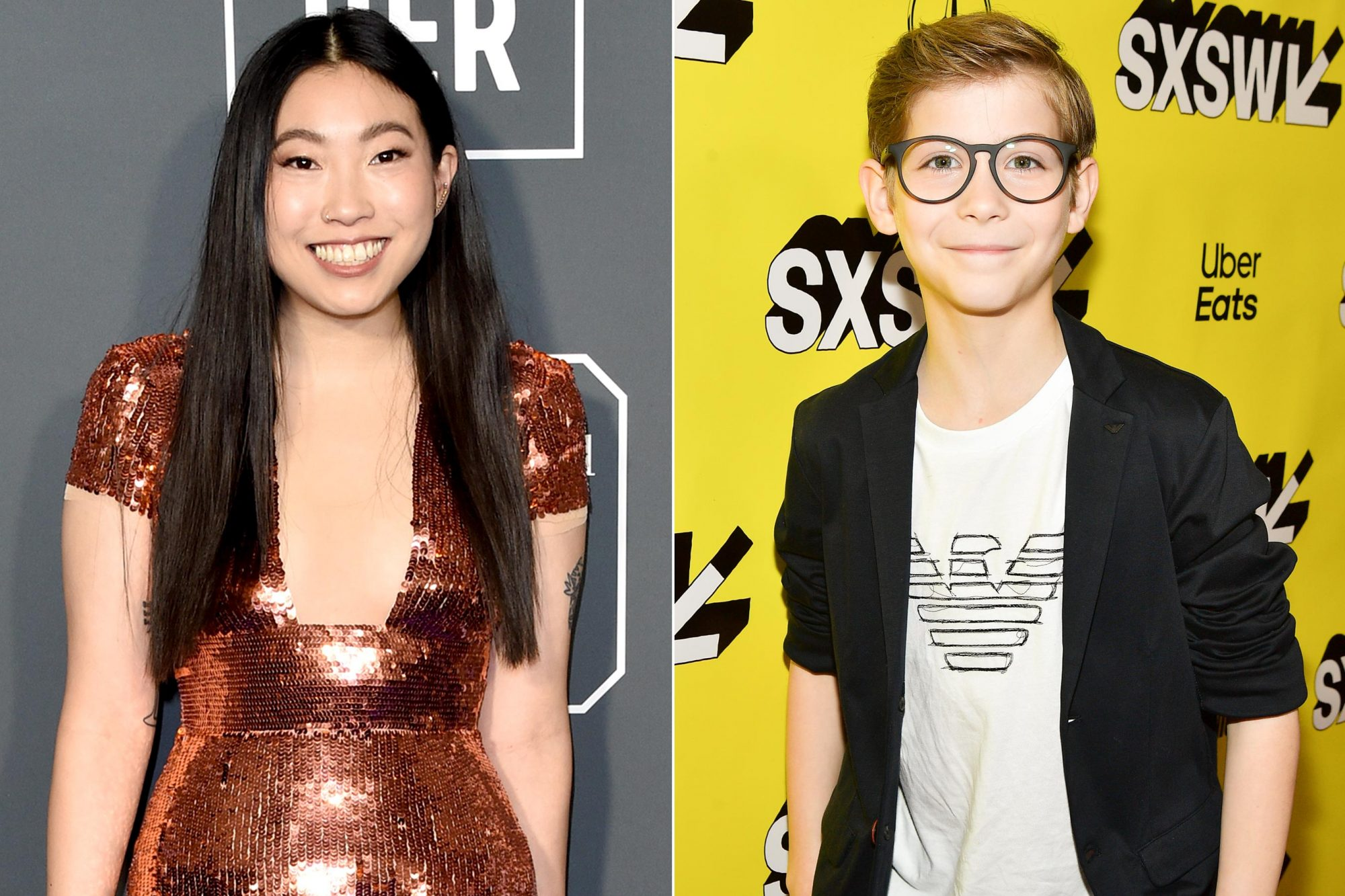 """SANTA MONICA, CA - JANUARY 13: Awkwafina attends the 24th Annual Critics' Choice Awards at Barker Hangar on January 13, 2019 in Santa Monica, California. (Photo by John Shearer/Getty Images) AUSTIN, TEXAS - MARCH 11: Jacob Tremblay attends the """"Good Boys"""" Premiere 2019 SXSW Conference and Festivals at Paramount Theatre on March 11, 2019 in Austin, Texas. (Photo by Matt Winkelmeyer/Getty Images for SXSW)"""