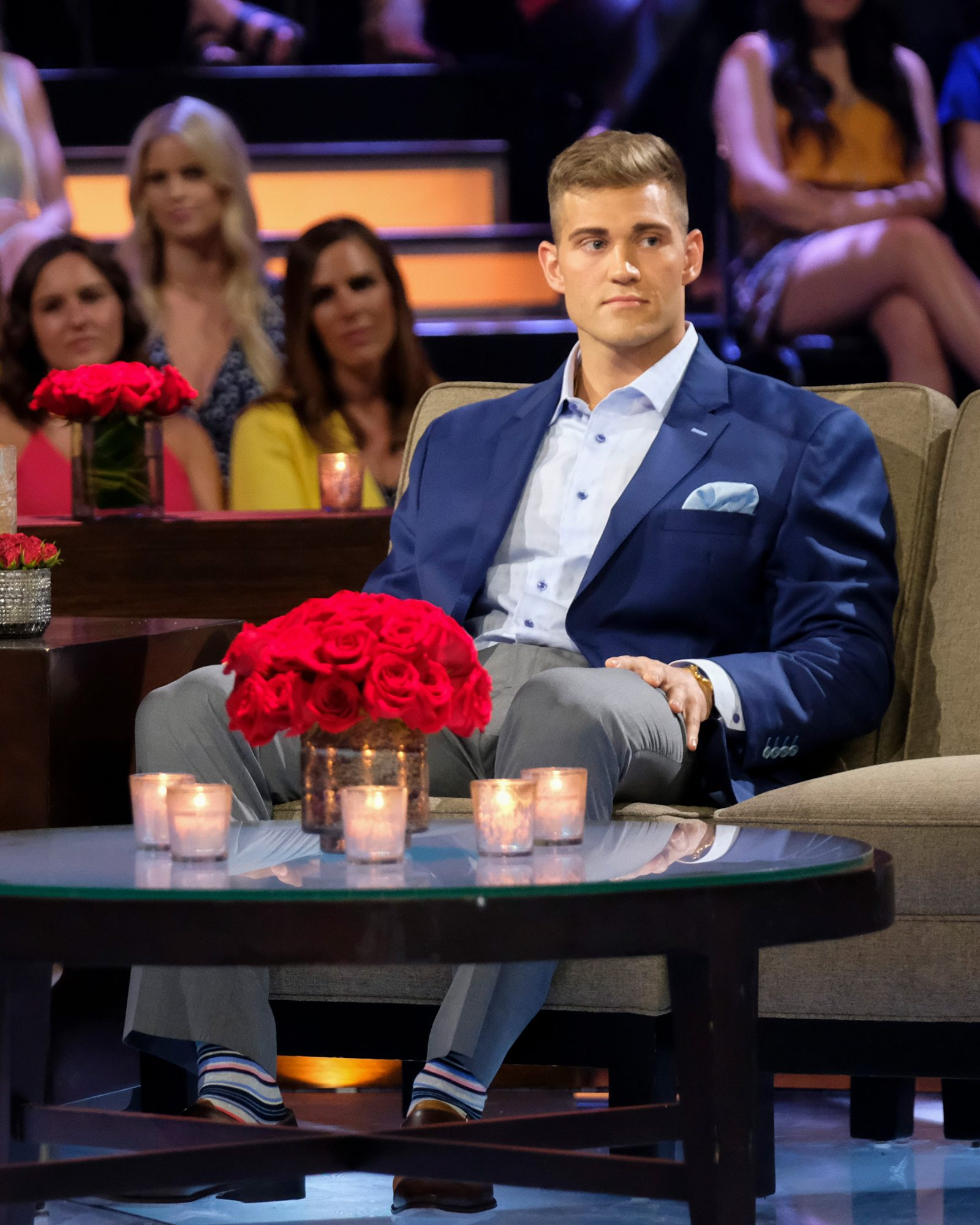 """THE BACHELORETTE: THE MEN TELL - """"The Men Tell All"""" - Luke P.'s stunning final standoff in Greece is revealed; and then, the controversial bachelor will take the hot seat opposite Chris Harrison to give his side of the story. The other men, fired up by Luke P.'s self-defense, explode into the vitriolic outburst they have been holding back all season long. The other most memorable bachelors - including Brian, Cam, Connor S., Daron, Devin, Dustin, Grant, Dylan, Garrett, John Paul Jones, Jonathan, Luke S., Matt, Matteo, Mike and Ryan -- return to confront each other and Hannah one last time to dish the dirt, tell their side of the story and share their emotional departures. Finally, as the clock ticks down on Hannah's journey to find love, a special sneak peek of her dramatic final week with Jed, Peter and Tyler C. is featured on """"The Bachelorette: The Men Tell All,"""" MONDAY, JULY 22 (8:00-10:01 p.m. EDT), on ABC. (ABC/John Fleenor) LUKE P."""