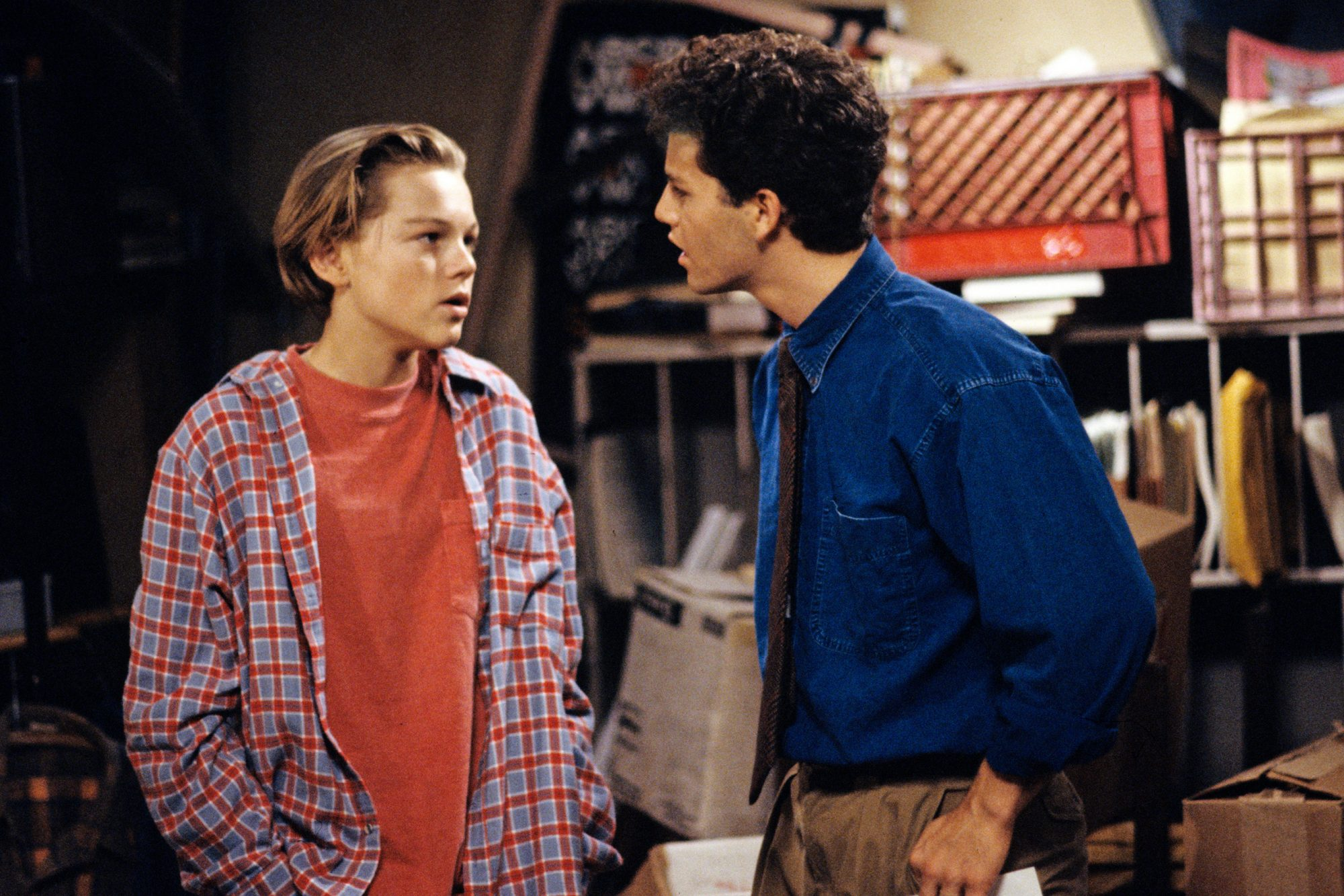 "UNITED STATES - SEPTEMBER 25: GROWING PAINS - ""Stop, Luke, & Listen"" - Season Seven - 9/25/91, Mike's (Kirk Cameron) prize pupil Luke Brower (Leonardo DiCaprio) was homeless and living in the school basement., (Photo by Walt Disney Television via Getty Images Photo Archives/Walt Disney Television via Getty Images)"