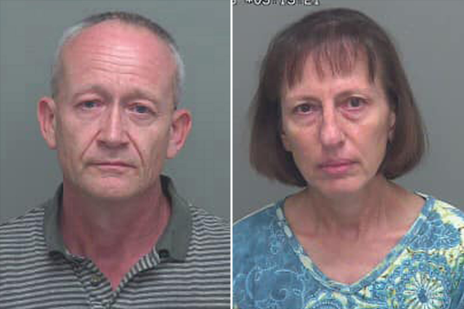 On July 12, 2019, Detectives of the Criminal Investigations Division (CID) at the Wakulla County Sheriff's Office (SO) arrested Mirko Ceska, 58 years of age, and Regina Ceska, 55 years of age, for various physical and sexual abuse charges; executed search warrants at their residence located at 251 Lonnie Raker Lane in Crawfordville; and served multiple Domestic Violence Injunctions. https://www.facebook.com/wakullasheriffsoffice/posts/2465591176794452?__tn__=K-R Credit: Wakulla County Sheriff's Office