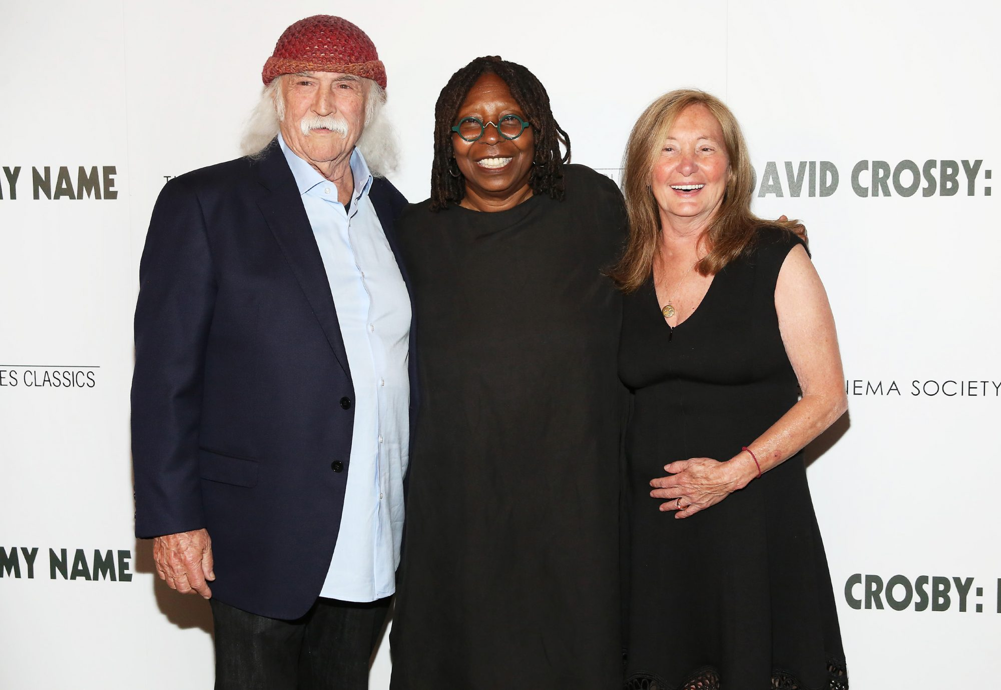 David Crosby, actress Whoopi Goldberg, and Jan Dance