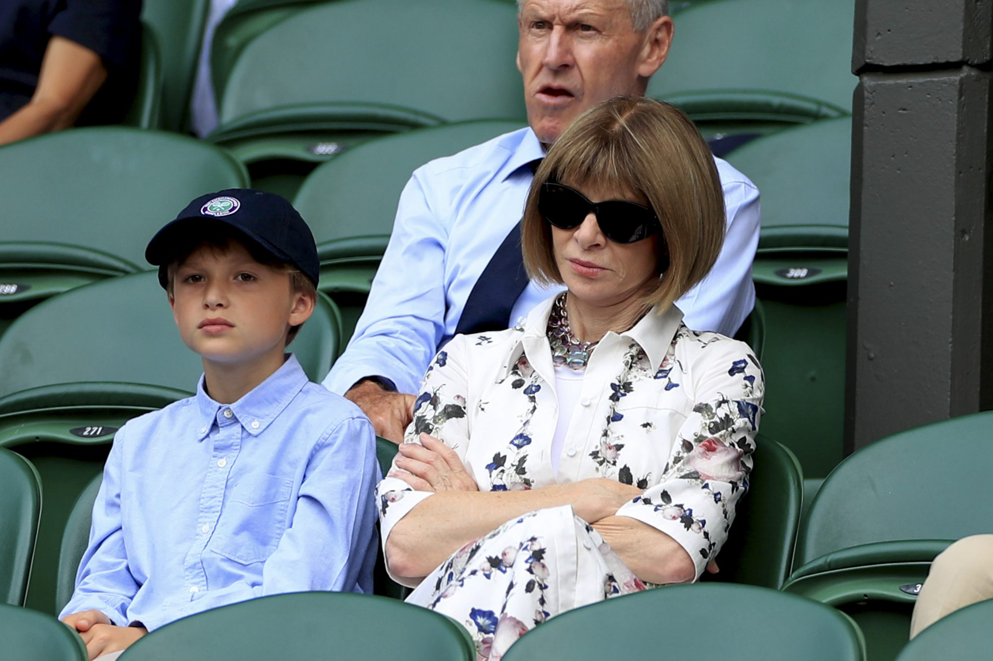 American Vogue, Editor in Chief, Anna Wintour on day nine of the Wimbledon Championships at the All England Lawn Tennis and Croquet Club, Wimbledon. (Photo by Mike Egerton/PA Images via Getty Images)