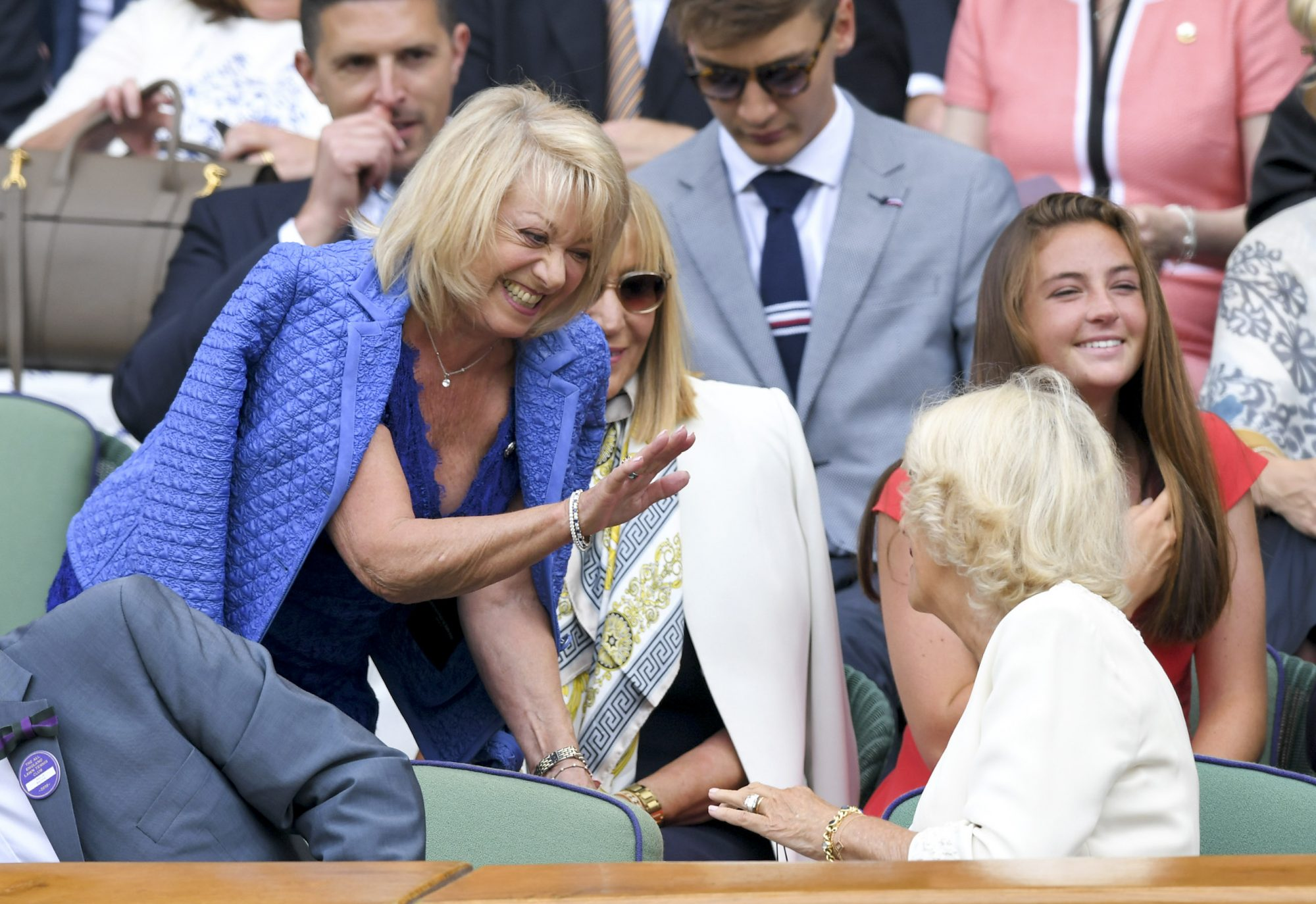 LONDON, ENGLAND - JULY 10: Elaine Paige and Camilla, Duchess of Cornwall attend day nine of the Wimbledon Tennis Championships at All England Lawn Tennis and Croquet Club on July 10, 2019 in London, England. (Photo by Karwai Tang/Getty Images)