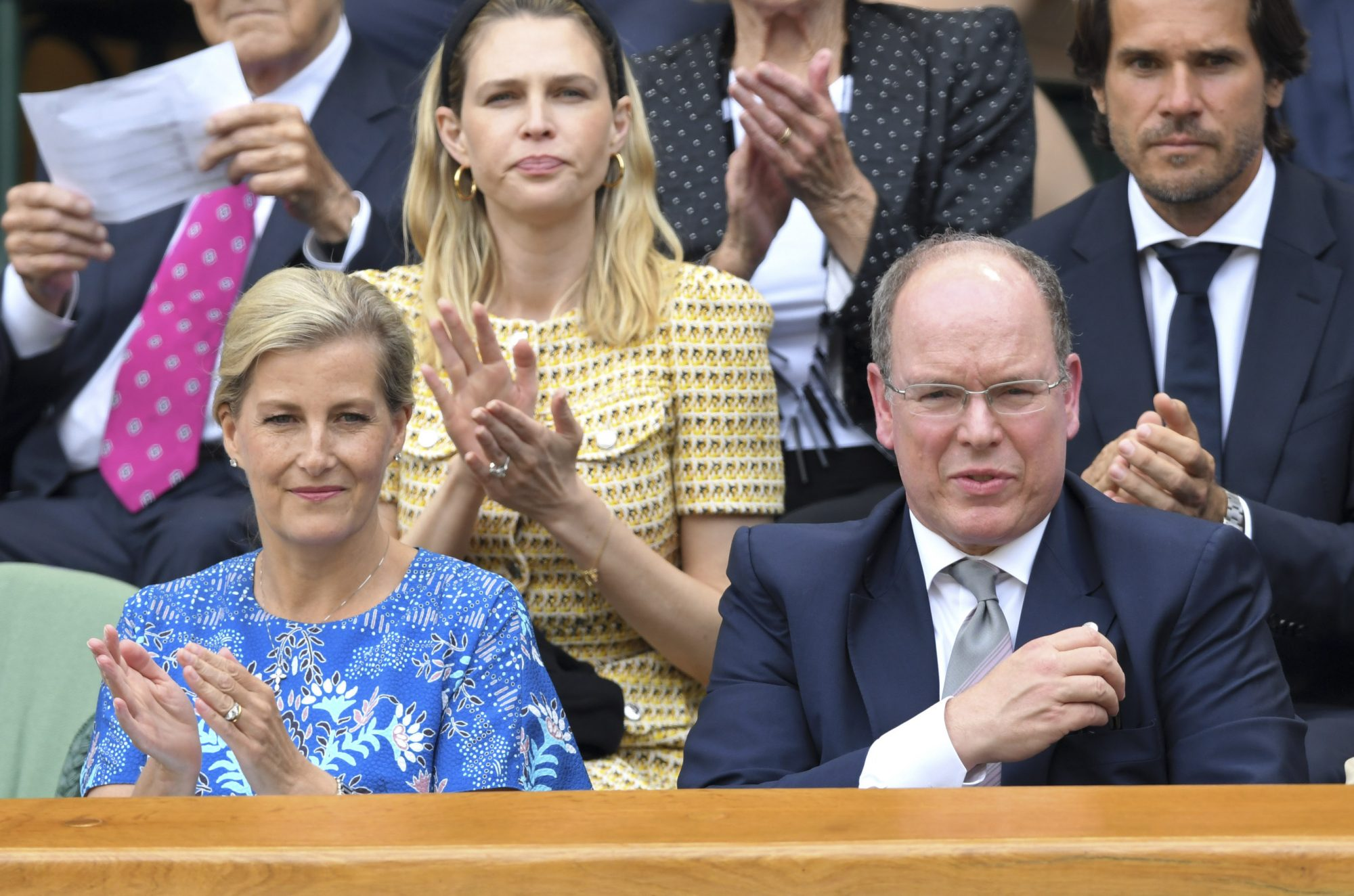 LONDON, ENGLAND - JULY 10: Sophie, Countess of Wessex and Albert II, Prince of Monaco attend day nine of the Wimbledon Tennis Championships at All England Lawn Tennis and Croquet Club on July 10, 2019 in London, England. (Photo by Karwai Tang/Getty Images)