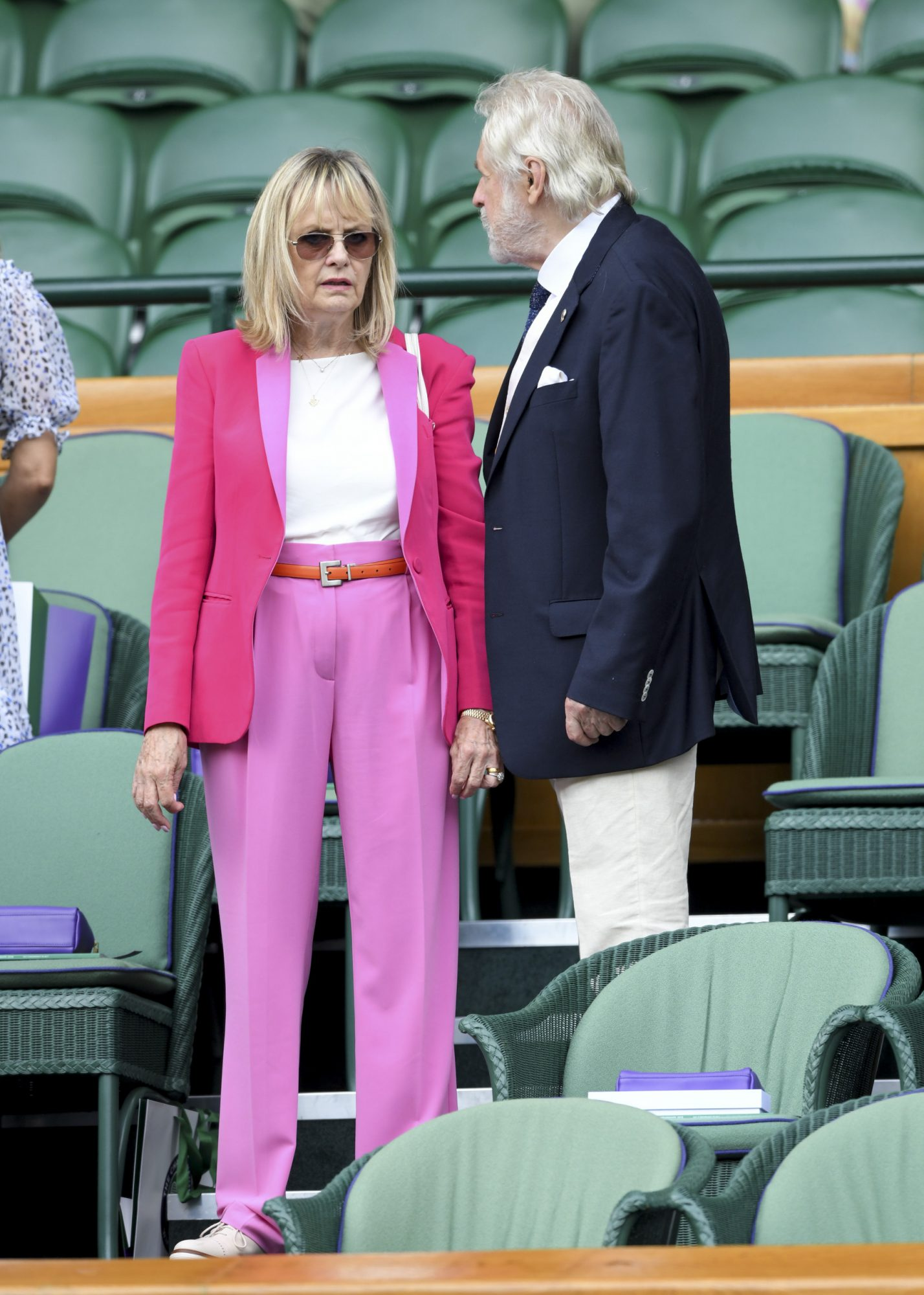 LONDON, ENGLAND - JULY 10: Twiggy and Leigh Lawson attend day nine of the Wimbledon Tennis Championships at All England Lawn Tennis and Croquet Club on July 10, 2019 in London, England. (Photo by Karwai Tang/Getty Images)