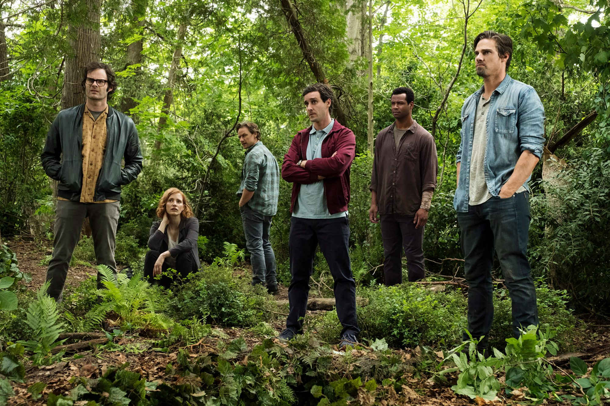 "(L-r) BILL HADER as Richie Tozier, JESSICA CHASTAIN as Beverly Marsh, JAMES MCAVOY as Bill Denbrough, JAMES RANSONE as Eddie Kaspbrak, ISAIAH MUSTAFA as Mike Hanlon, and JAY RYAN as Ben Hascomb in New Line Cinema's horror thriller ""IT CHAPTER TWO,"" a Warner Bros. Pictures release. Photo by Brooke Palmer"