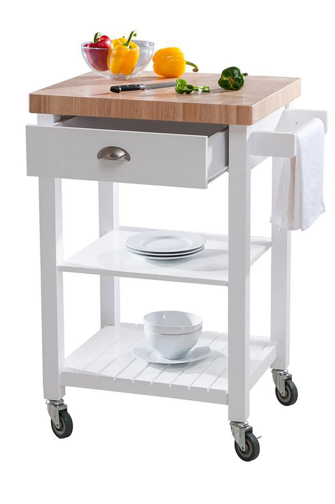Hampton Bay Brookwood White Wood Kitchen Cart on Wheels with Drawer and Storage at The Home Depot